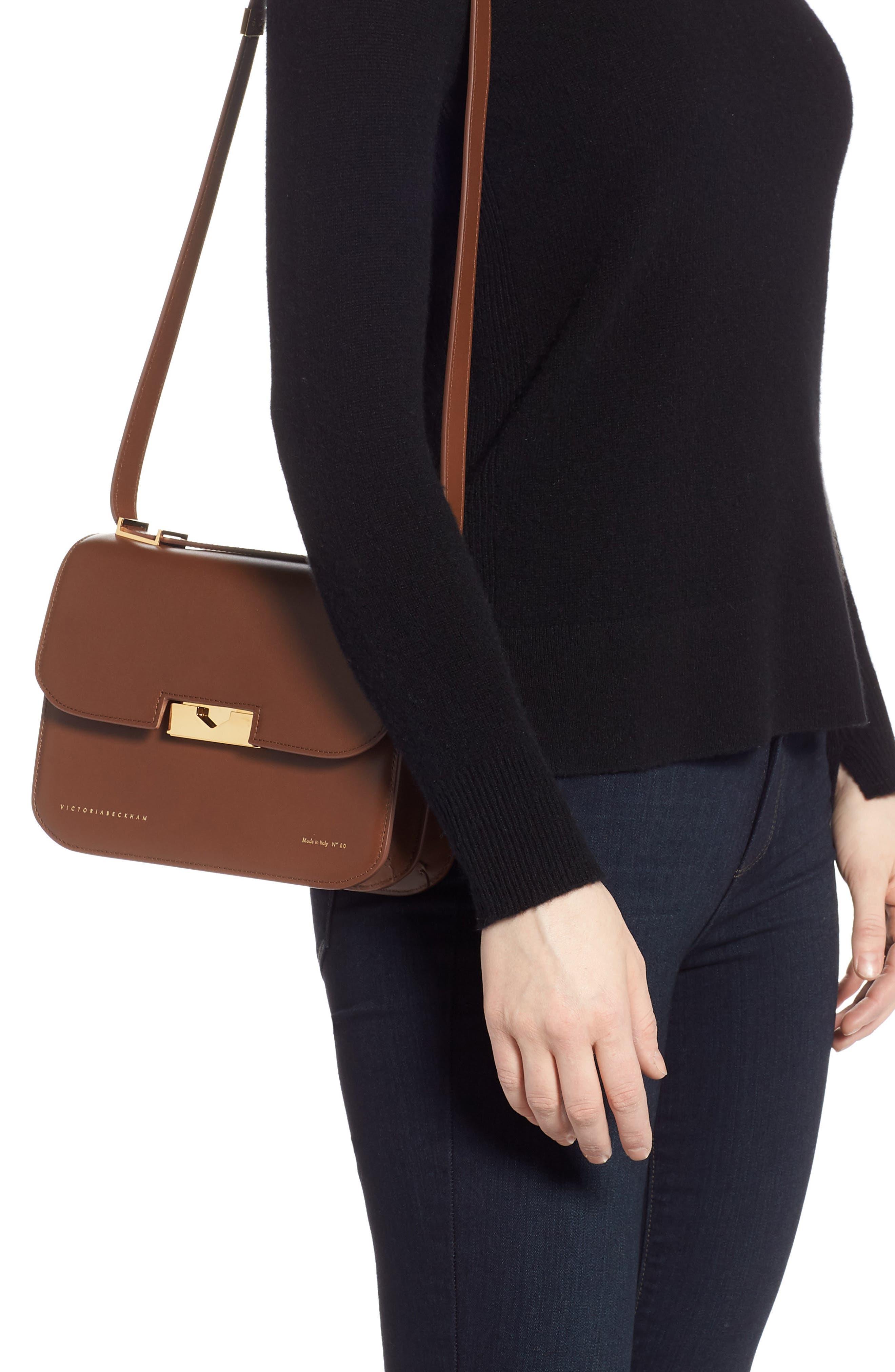 VICTORIA BECKHAM, Eva Leather Shoulder Bag, Alternate thumbnail 2, color, AMBER
