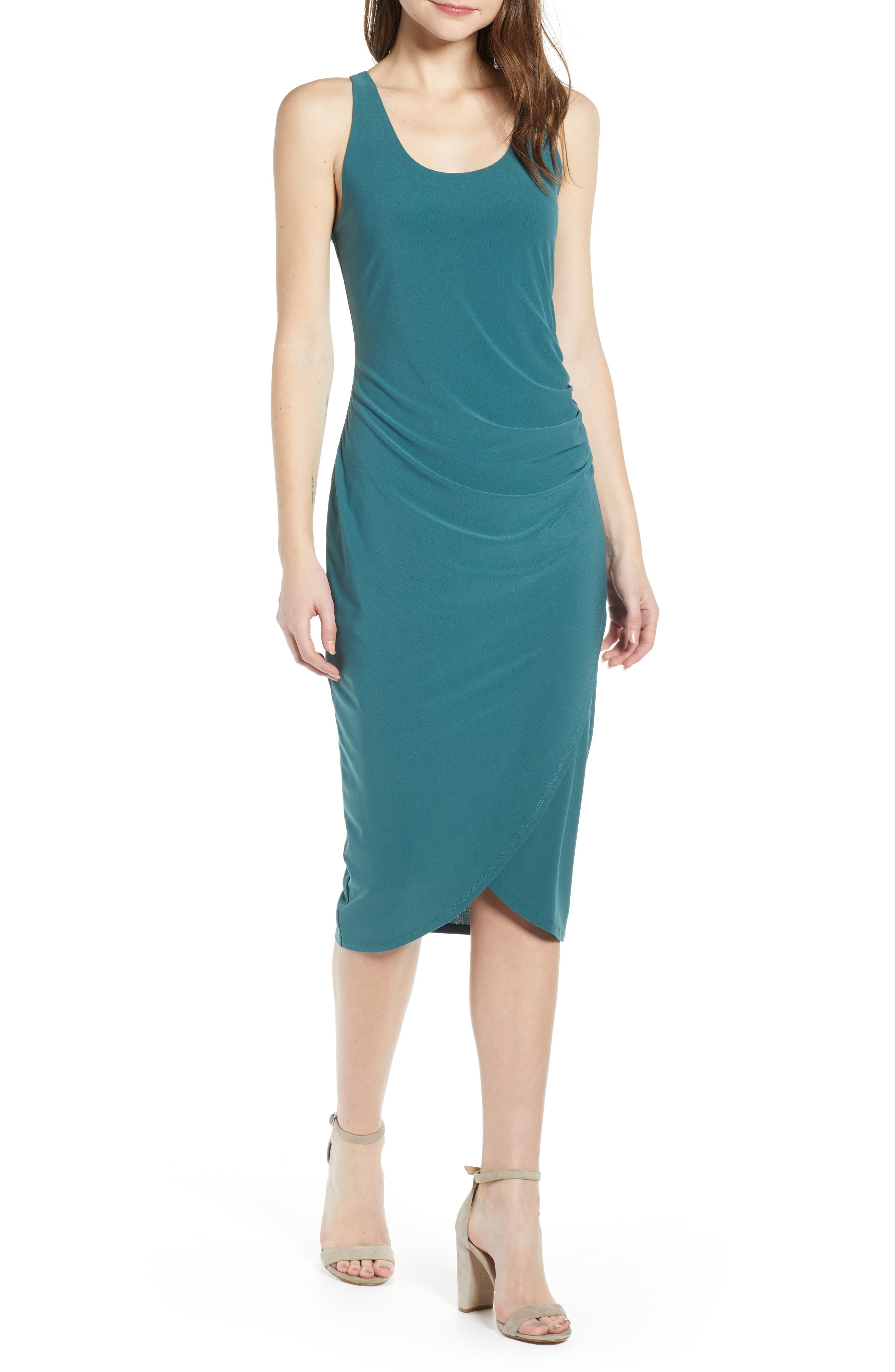 Chelsea28 Side Ruched Dress, Blue/green