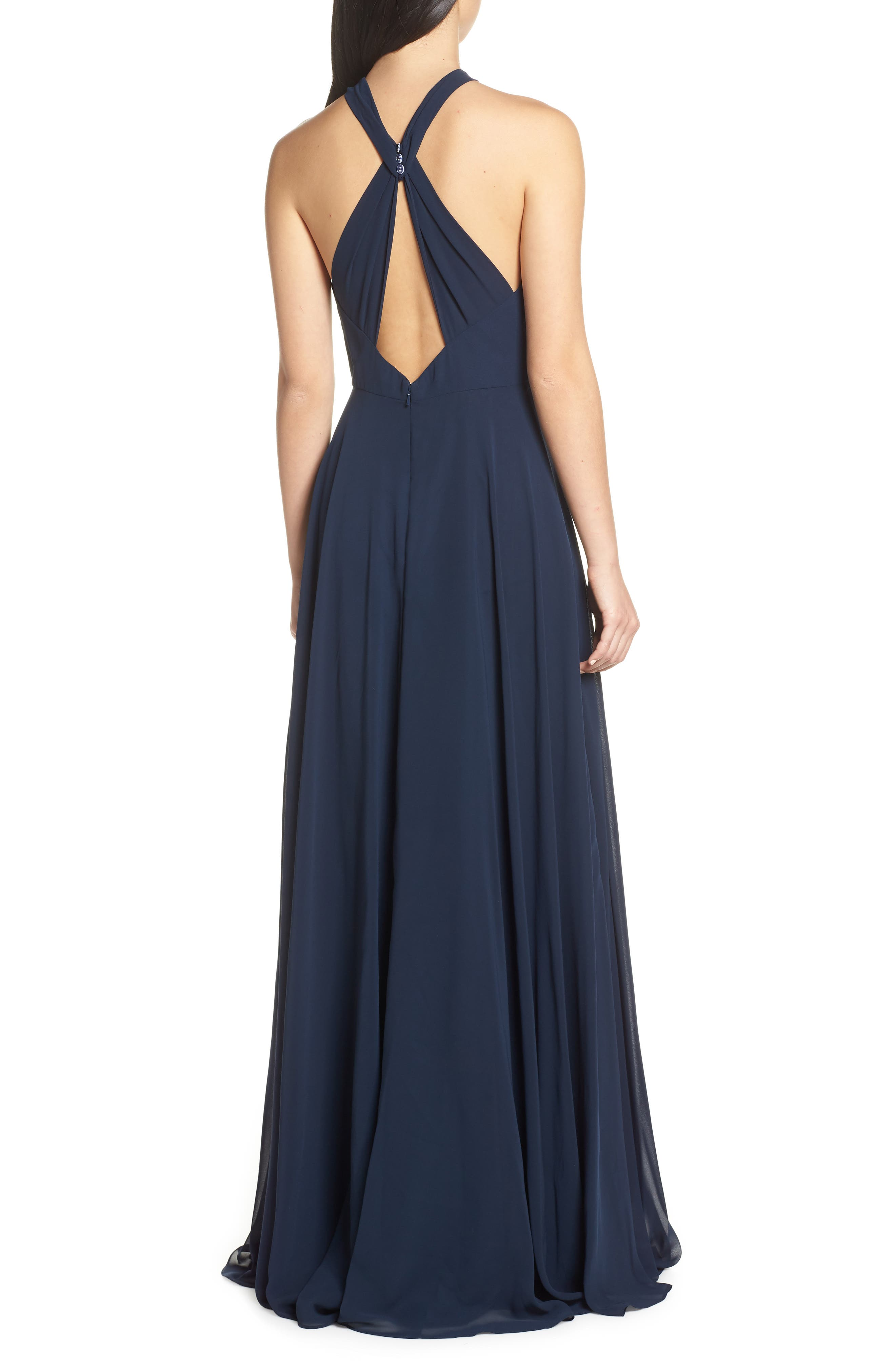JENNY YOO, Halle Halter Evening Dress, Alternate thumbnail 2, color, NAVY
