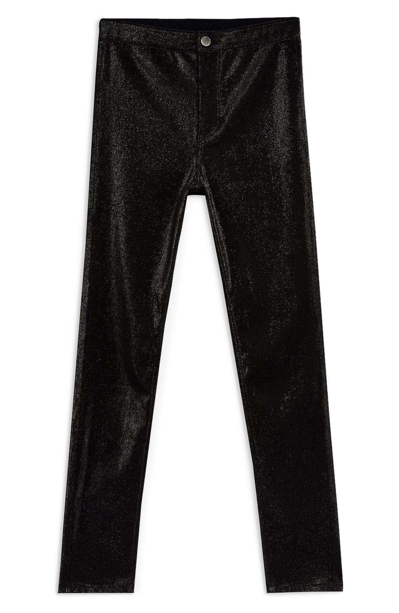 TOPSHOP, Joni Metallic Jeans, Alternate thumbnail 3, color, 001