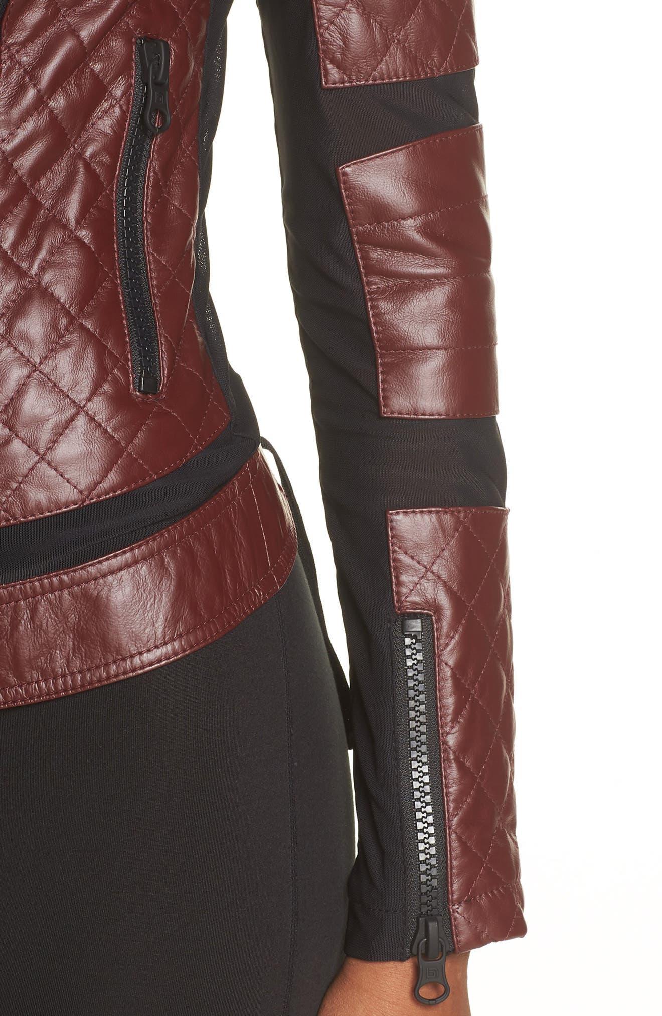 BLANC NOIR, Voyage Hooded Leather & Mesh Moto Jacket, Alternate thumbnail 5, color, 601