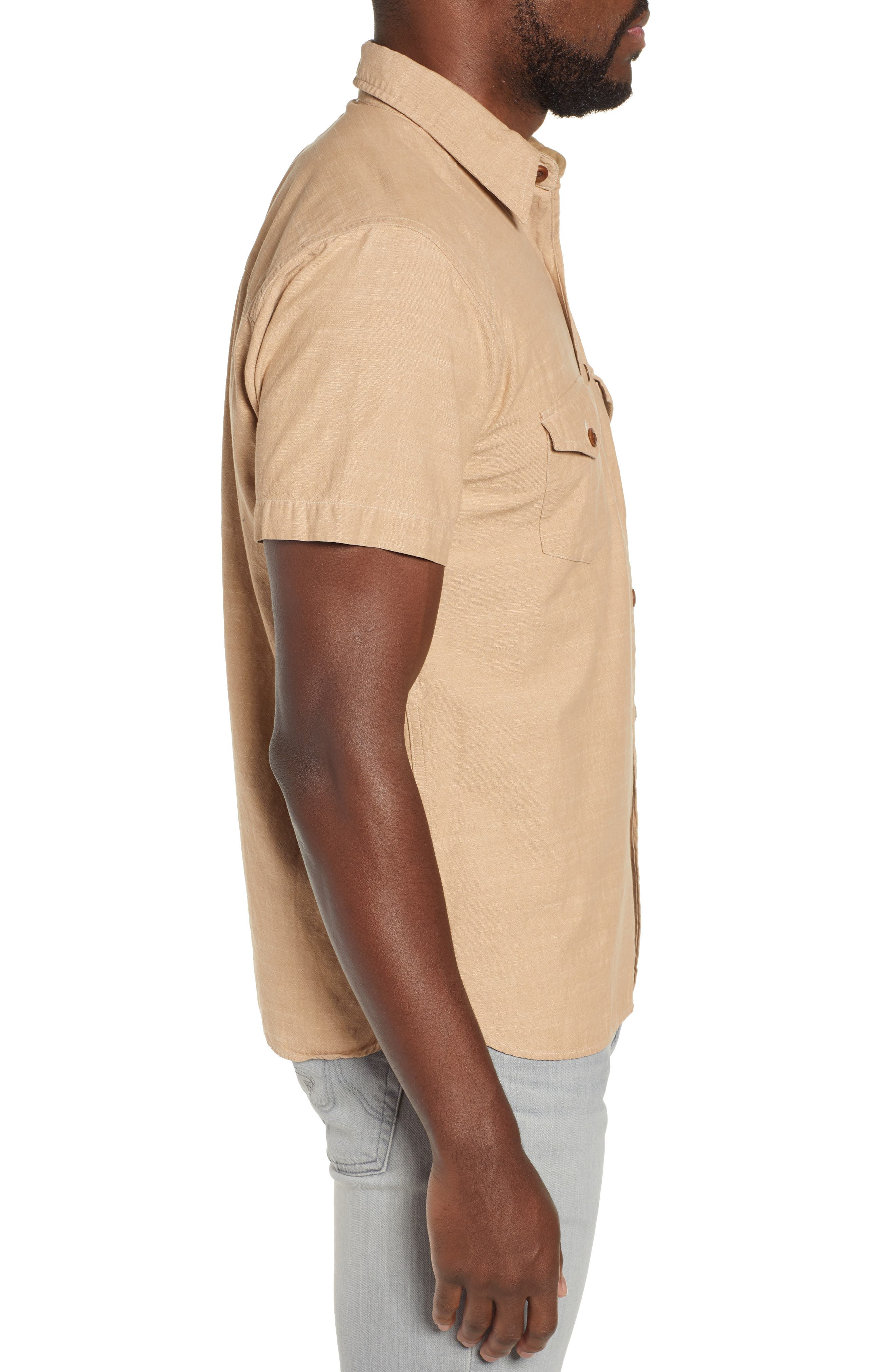 FRYE, Addison Chambray Woven Shirt, Alternate thumbnail 4, color, KRAFT BROWN
