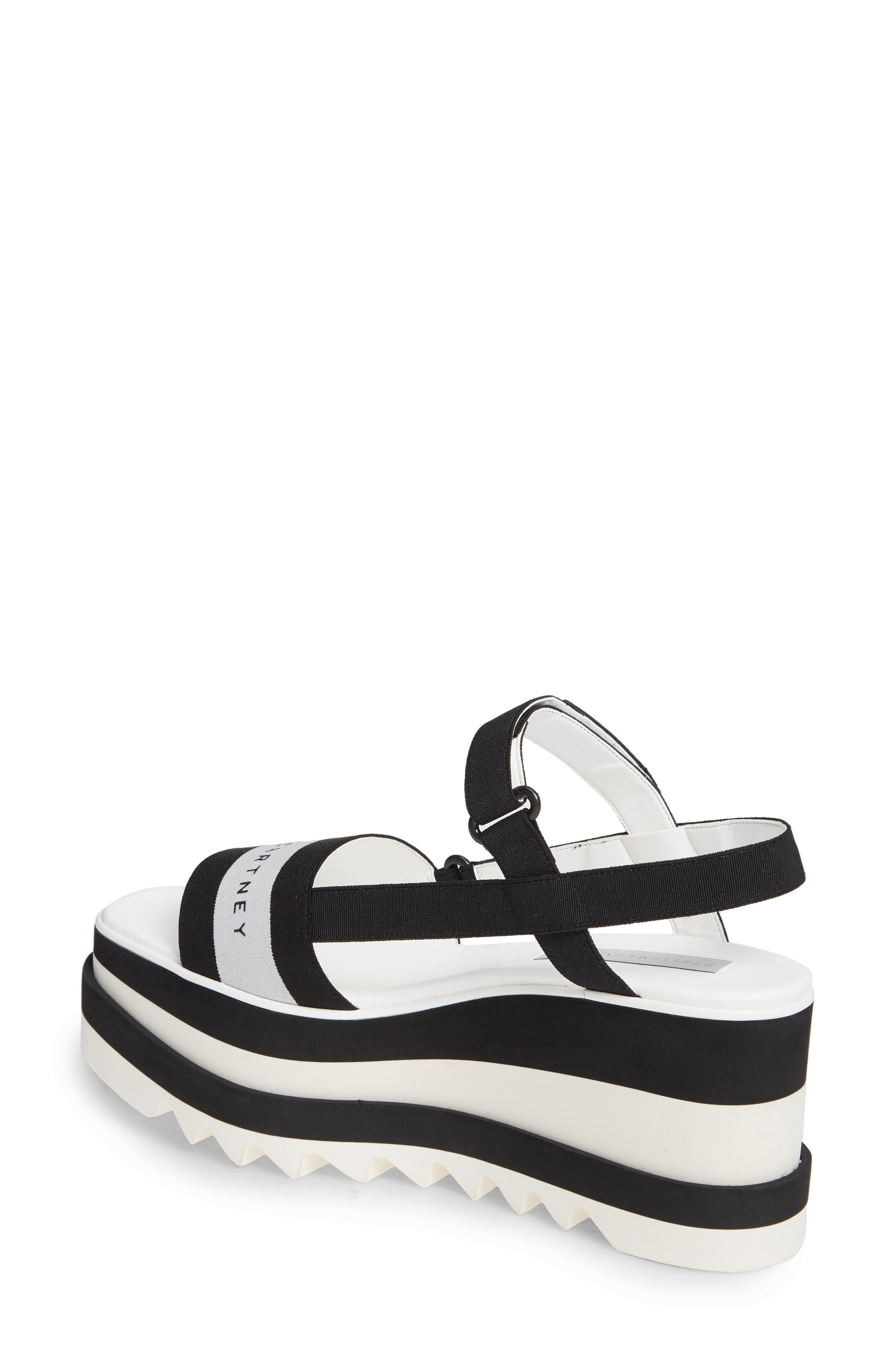 STELLA MCCARTNEY, Stripe Logo Platform Sandal, Alternate thumbnail 2, color, BLACK/ WHITE