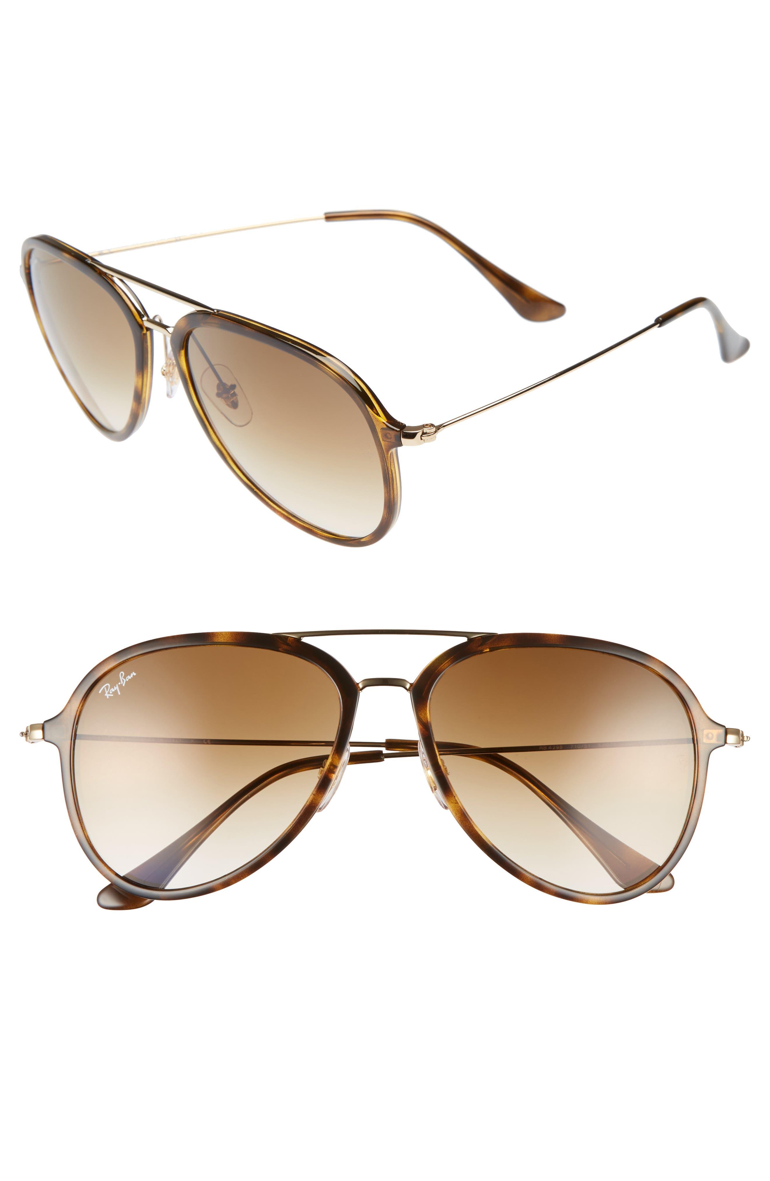 RAY-BAN 57mm Pilot Sunglasses, Main, color, LIGHT HAVANA