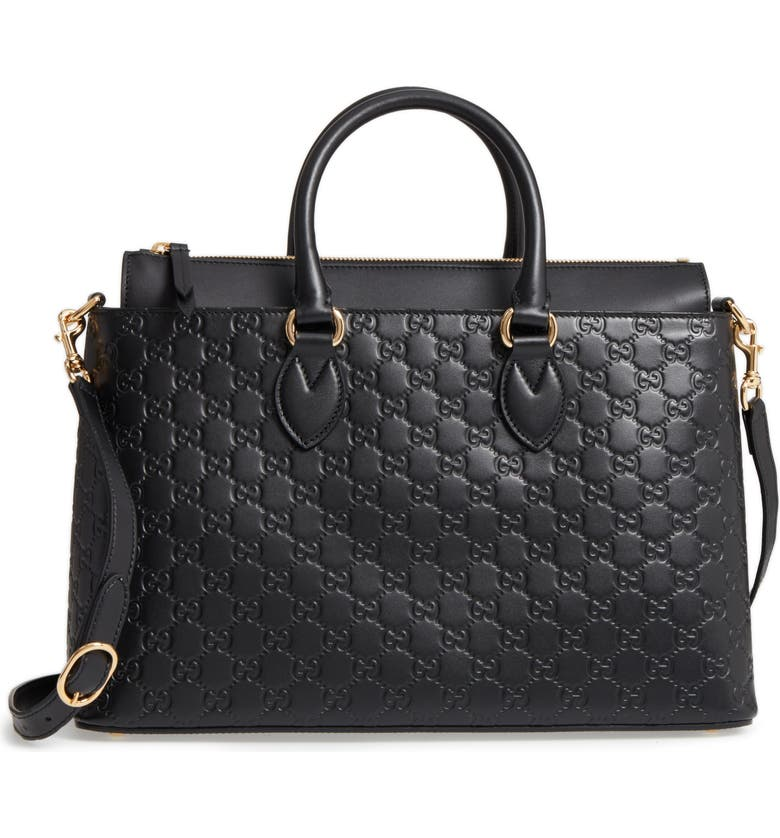 eb5eddc6398 Gucci Medium Top Handle Signature Leather Tote
