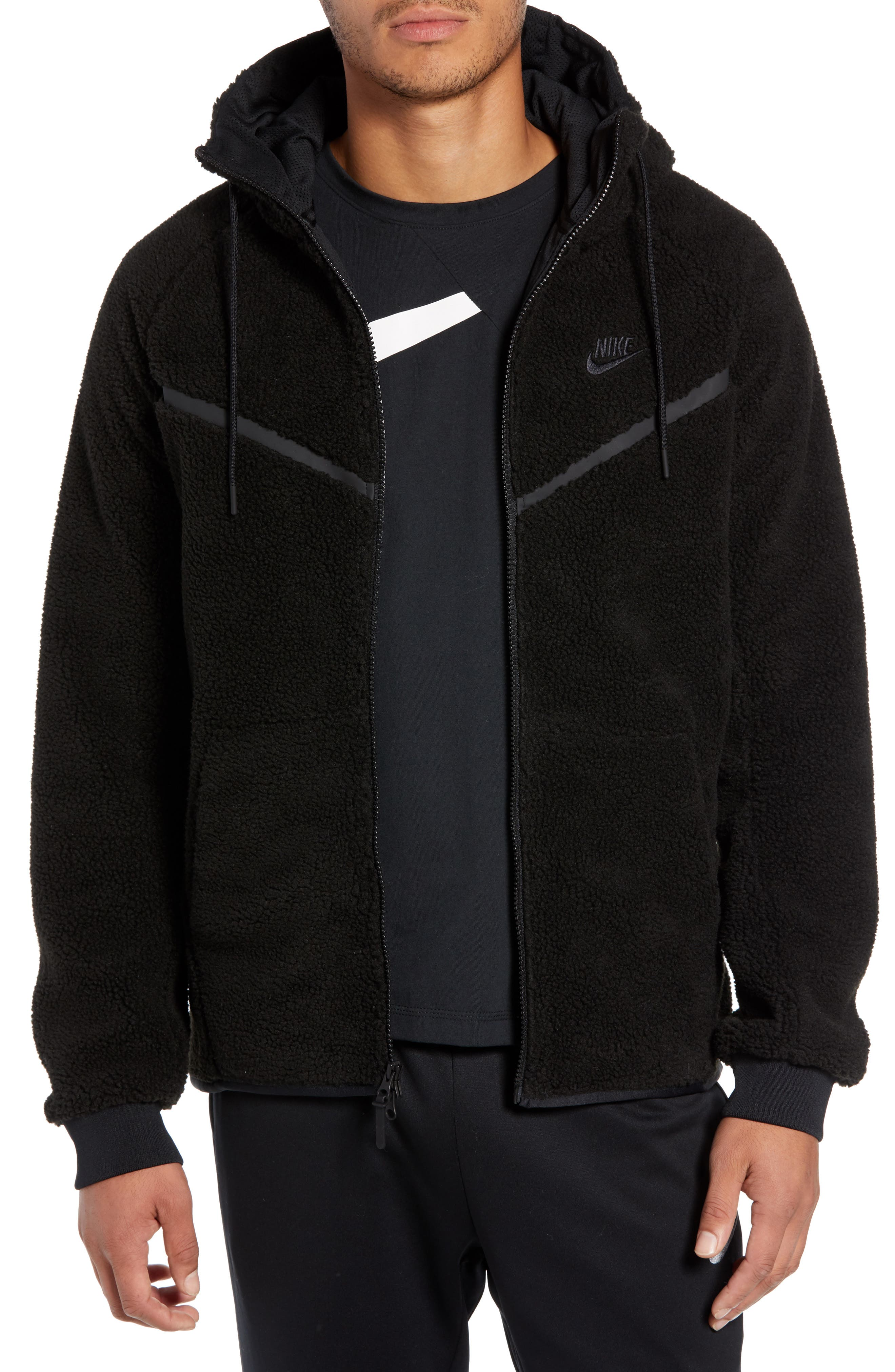 NIKE Tech Icon Fleece Zip Hoodie, Main, color, BLACK/ BLACK