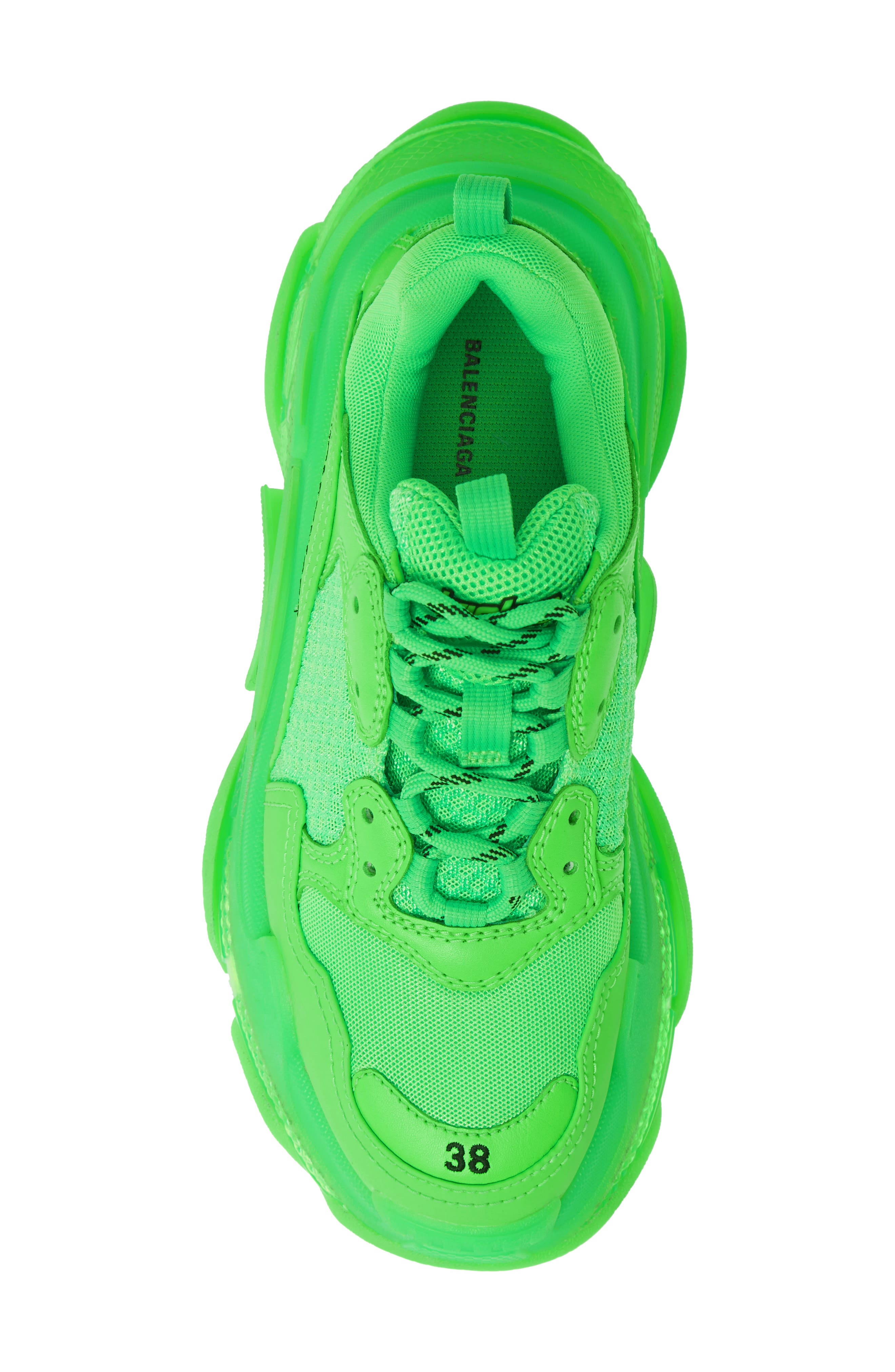 BALENCIAGA, Triple S Low Top Sneaker, Alternate thumbnail 5, color, GREEN FLUO