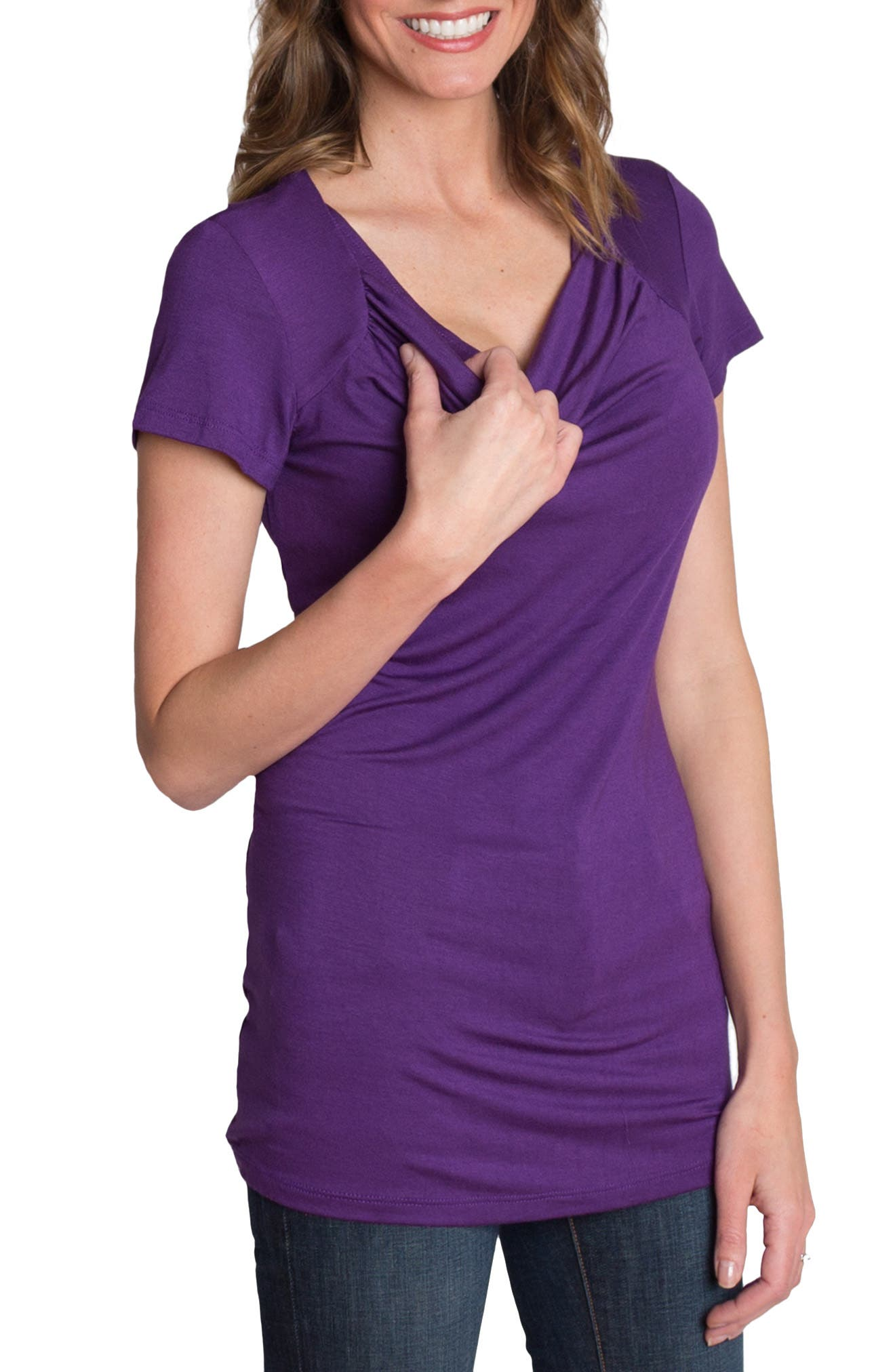 UDDERLY HOT MAMA, 'Chic' Cowl Neck Nursing Tee, Alternate thumbnail 6, color, PURPLE