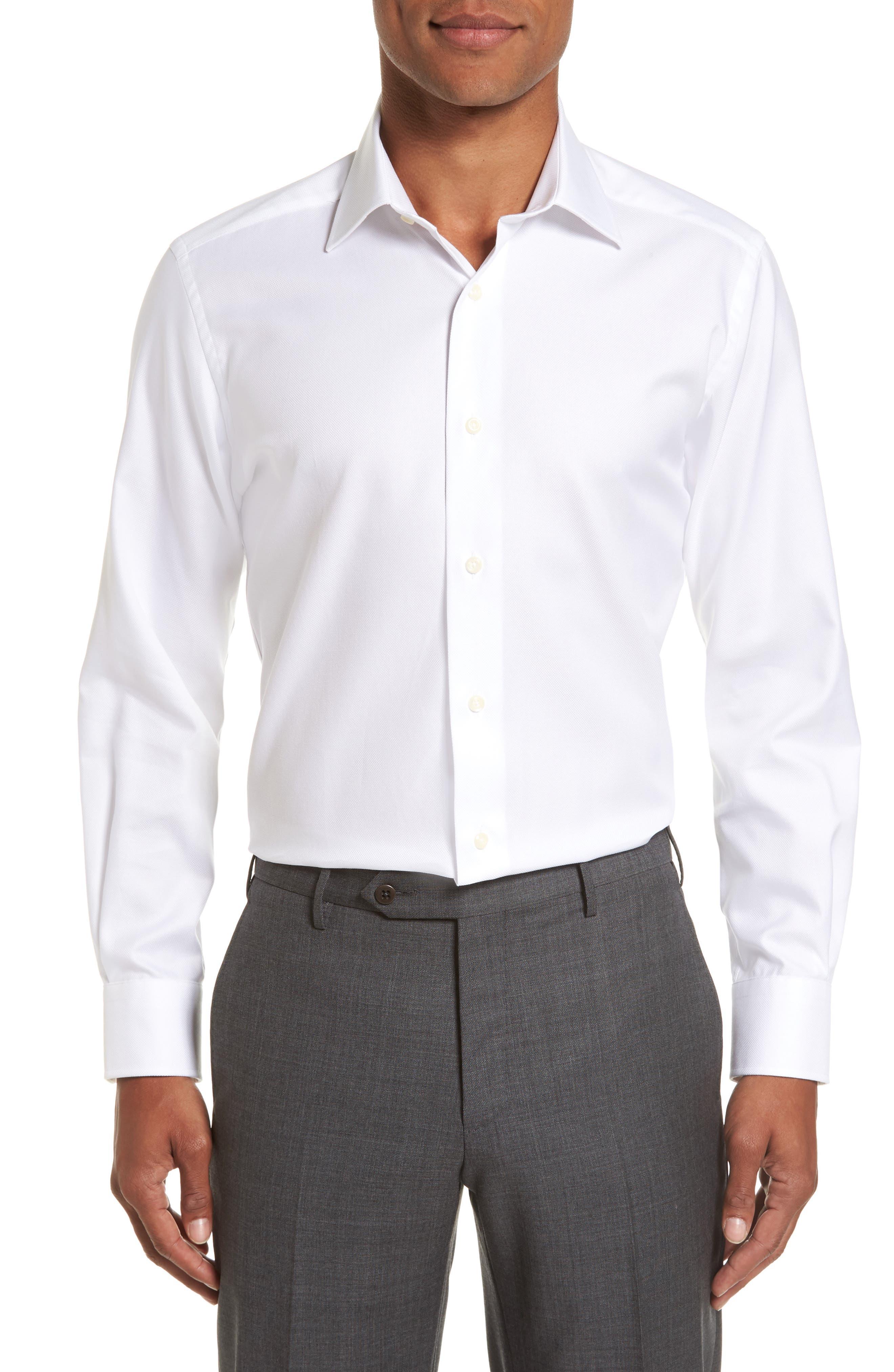 DAVID DONAHUE, Trim Fit Dress Shirt, Main thumbnail 1, color, WHITE