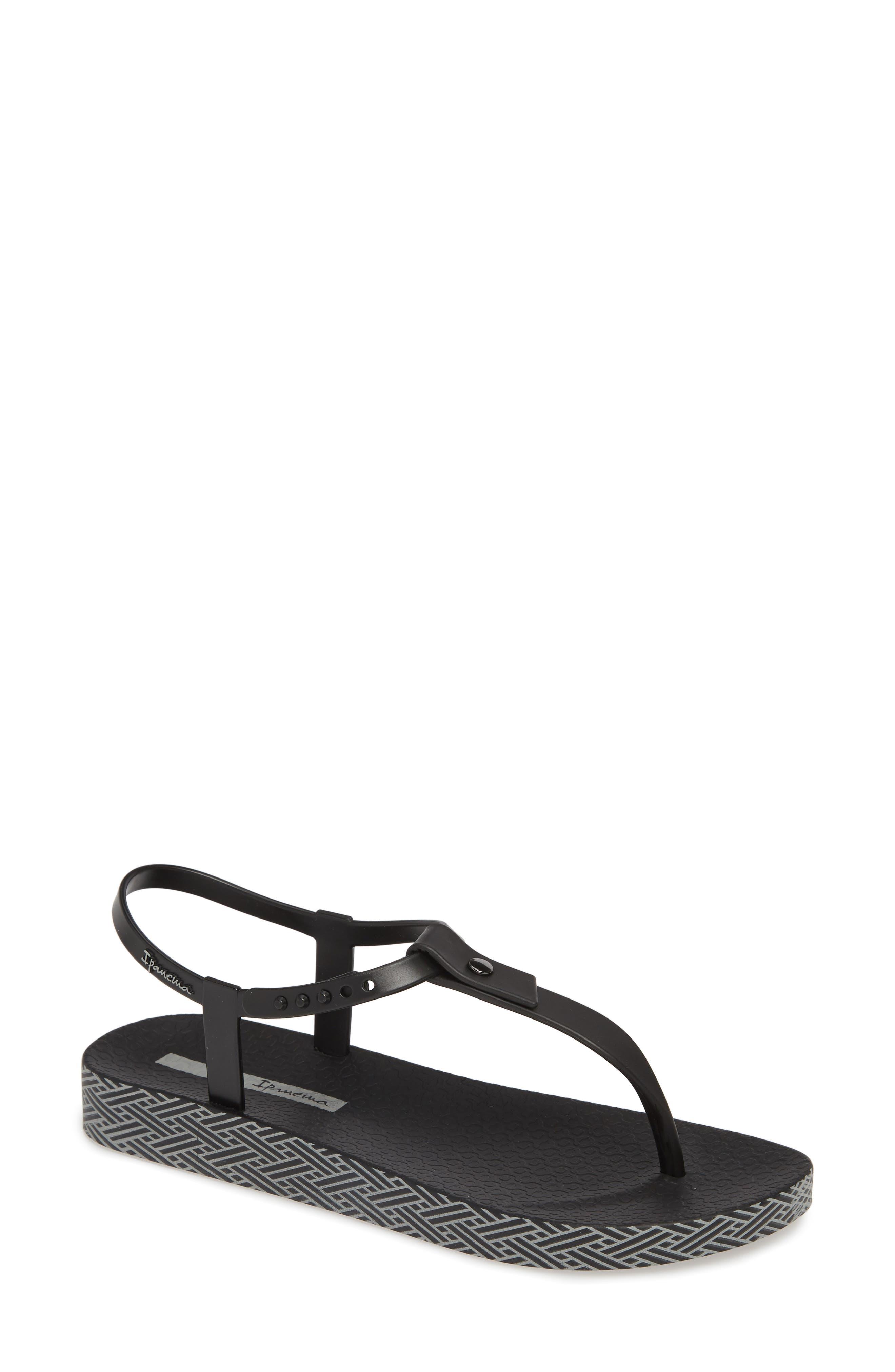 IPANEMA, Plush Weave T-Strap Sandal, Main thumbnail 1, color, BLACK