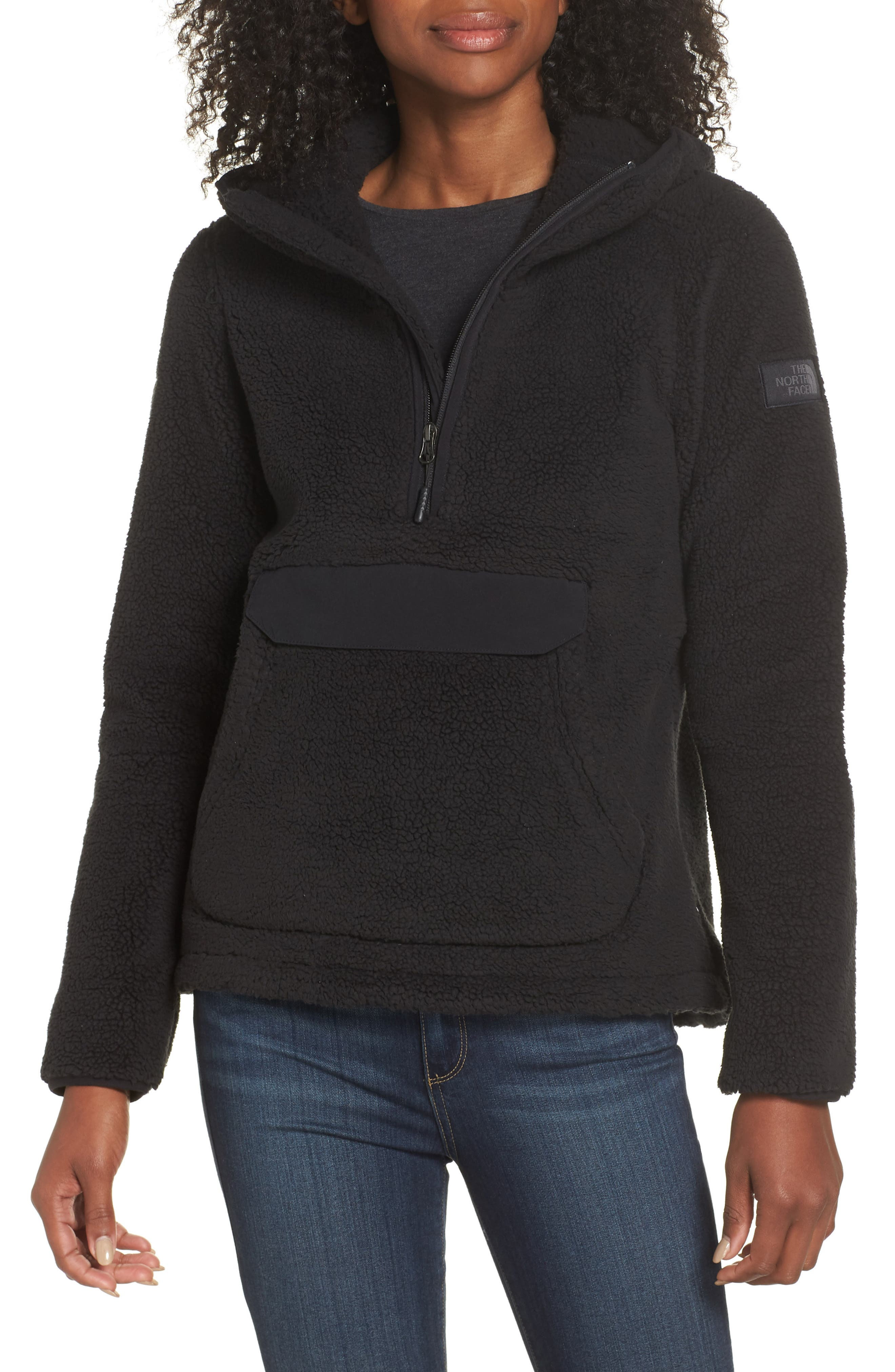 THE NORTH FACE, Campshire High Pile Fleece Pullover Hoodie, Main thumbnail 1, color, TNF BLACK