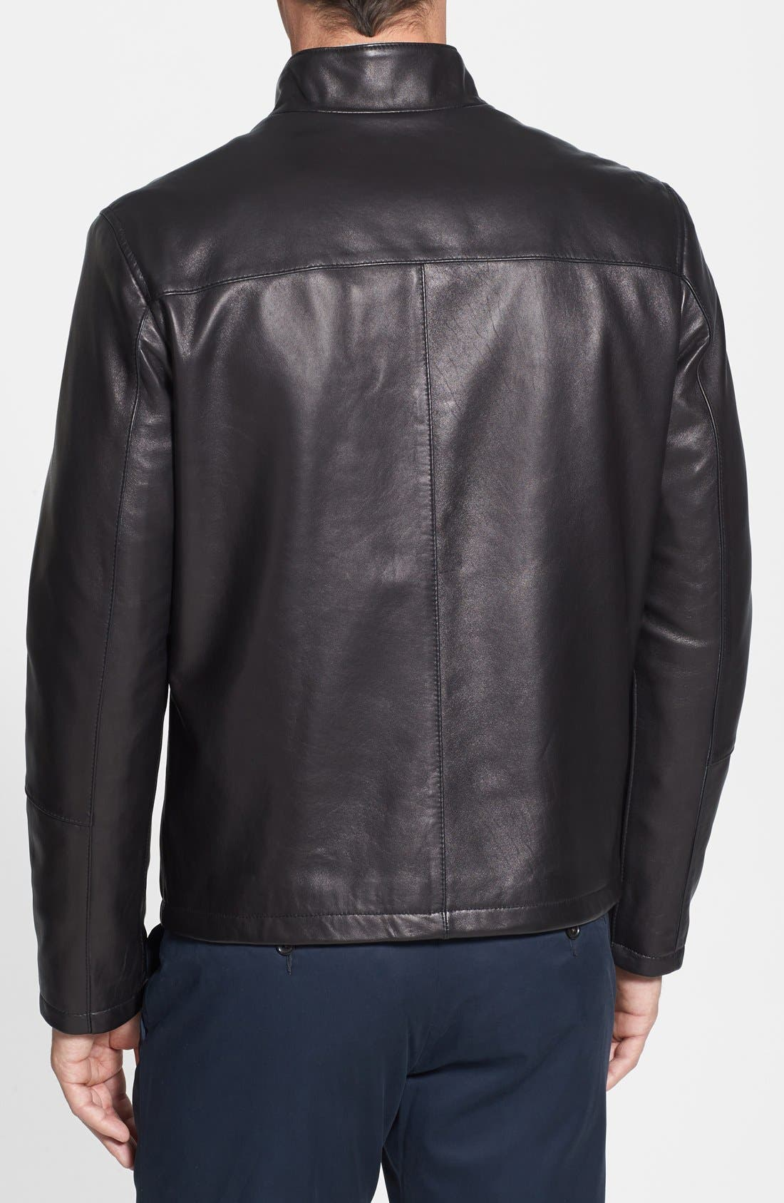 COLE HAAN, Lambskin Leather Moto Jacket, Alternate thumbnail 4, color, BLACK