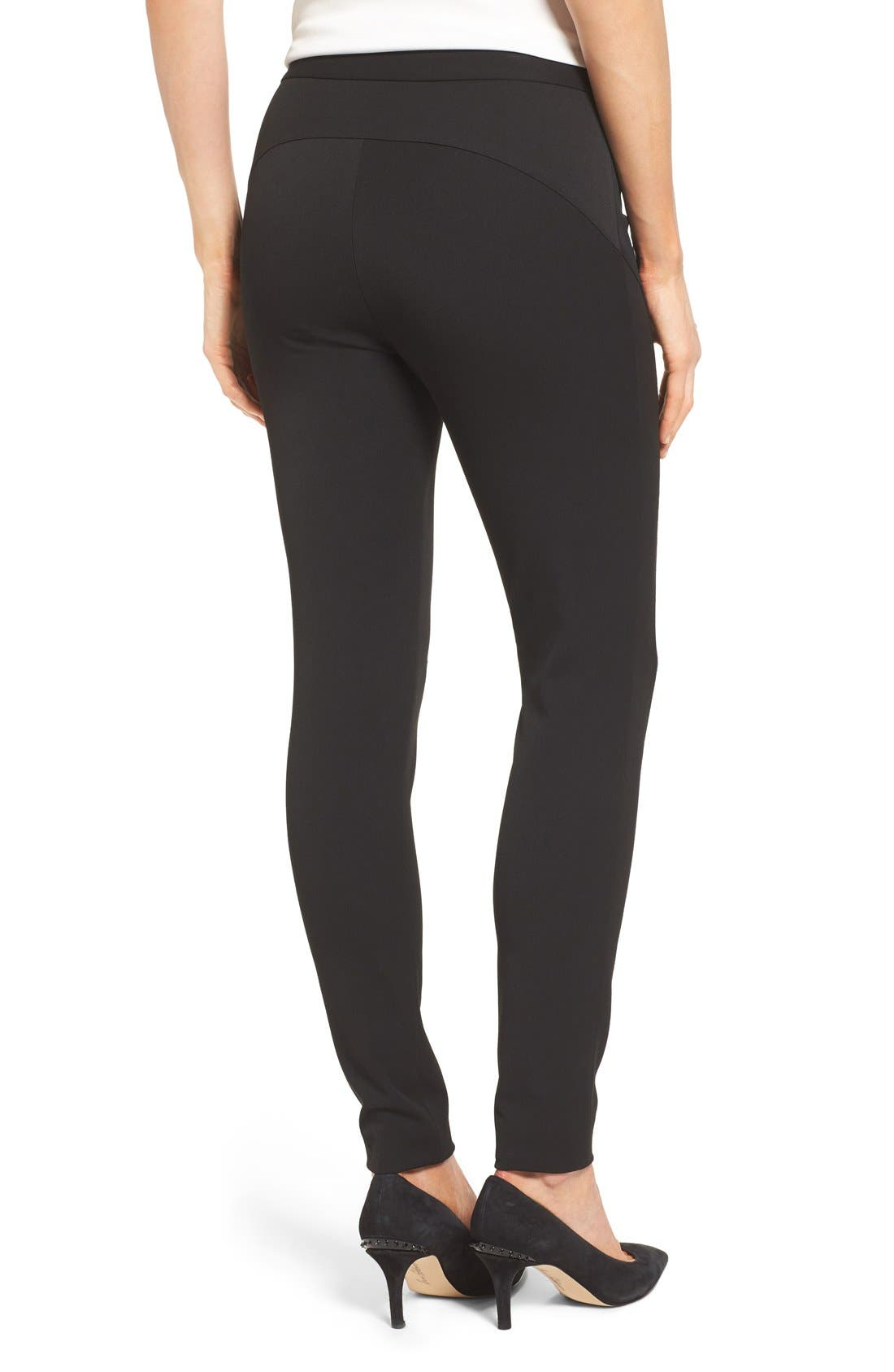 VINCE CAMUTO, Stretch Twill Skinny Pants, Alternate thumbnail 6, color, RICH BLACK