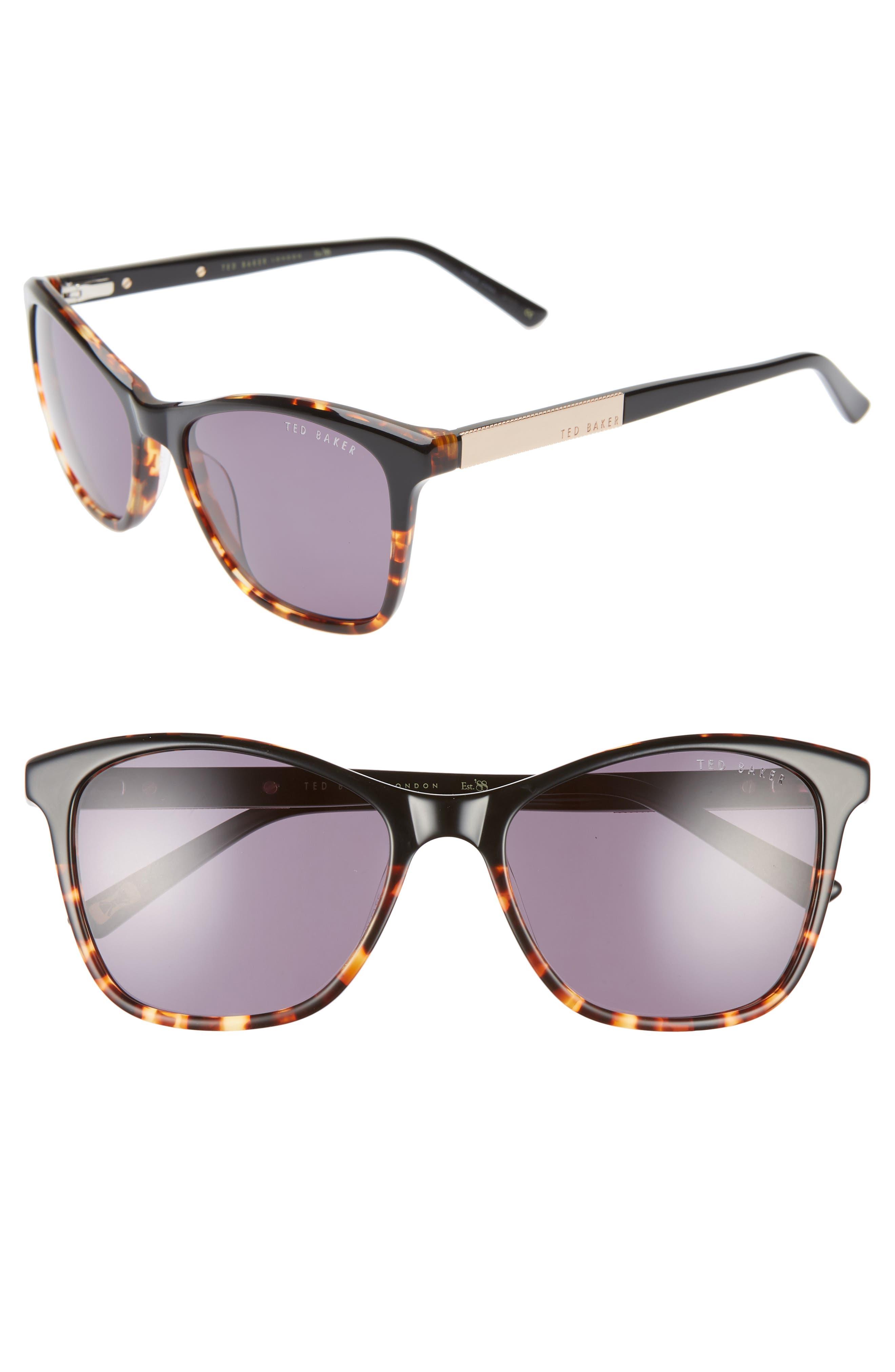 TED BAKER LONDON, 55mm Square Cat Eye Sunglasses, Main thumbnail 1, color, BLACK HAVANA/ GOLD/ PURPLE