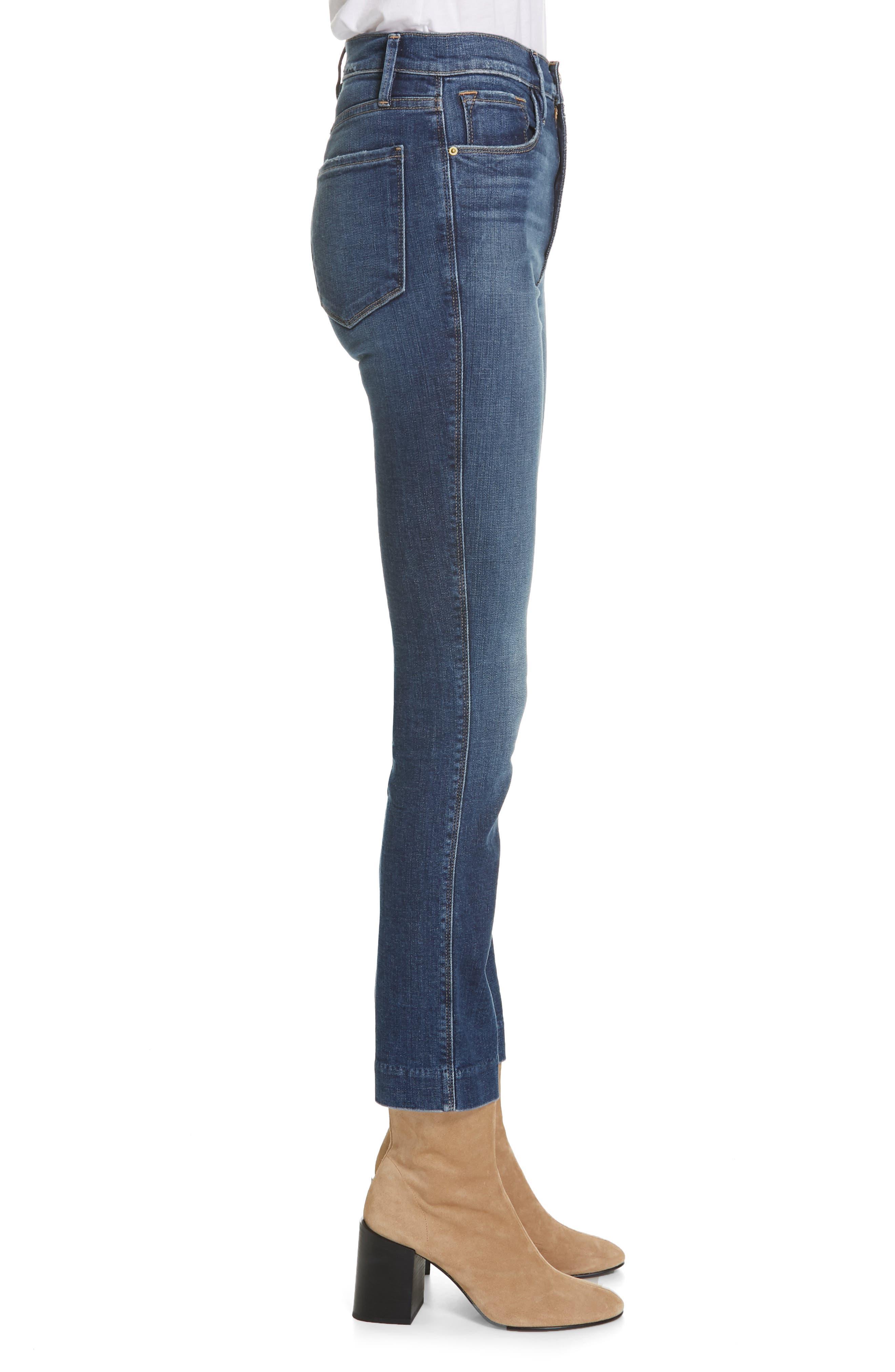 FRAME, Le Sylvie Blind Stitch Straight Leg Jeans, Alternate thumbnail 4, color, JOURNEY