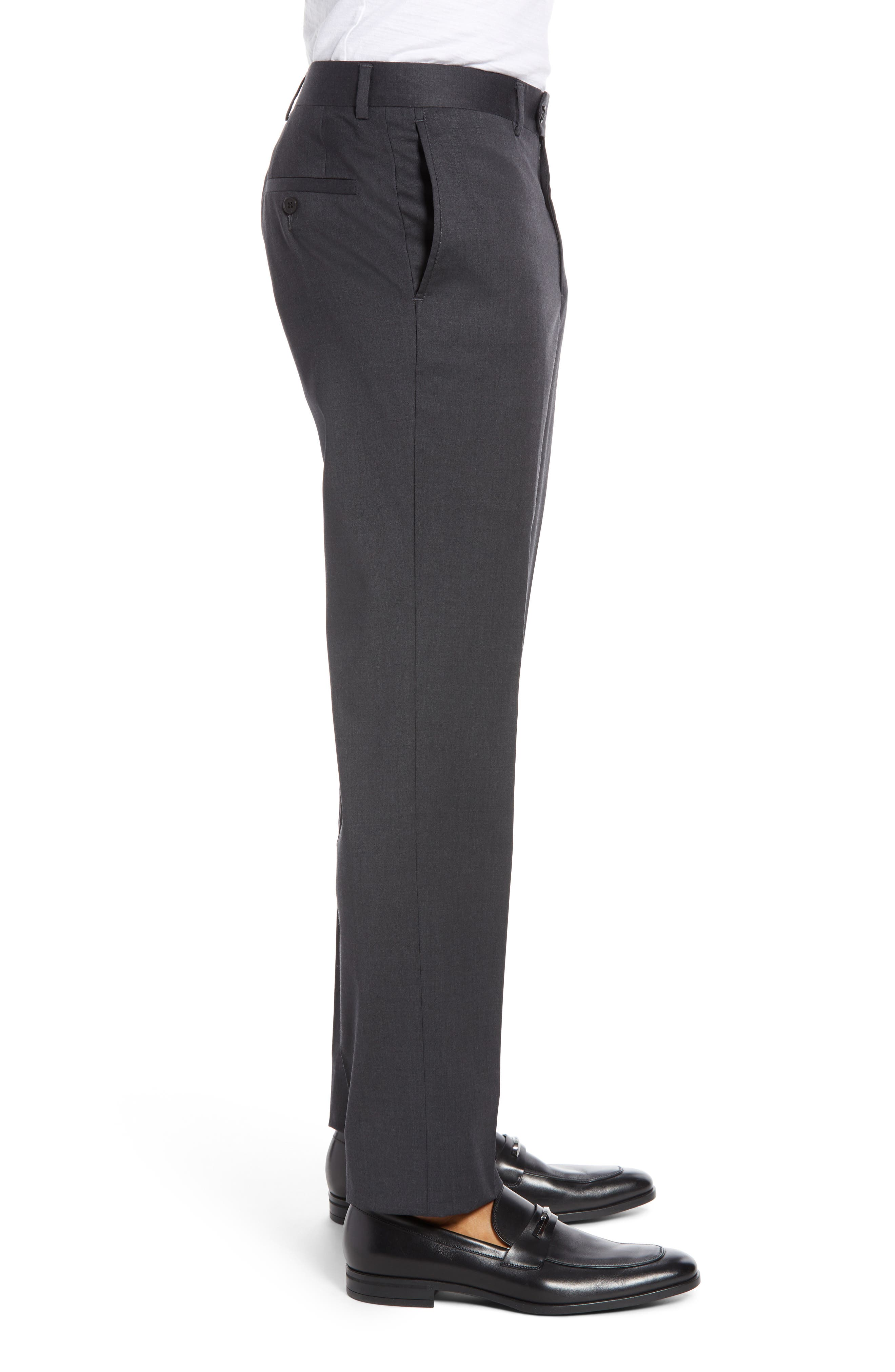 NORDSTROM MEN'S SHOP, Trim Fit Stretch Wool Trousers, Alternate thumbnail 3, color, CHARCOAL