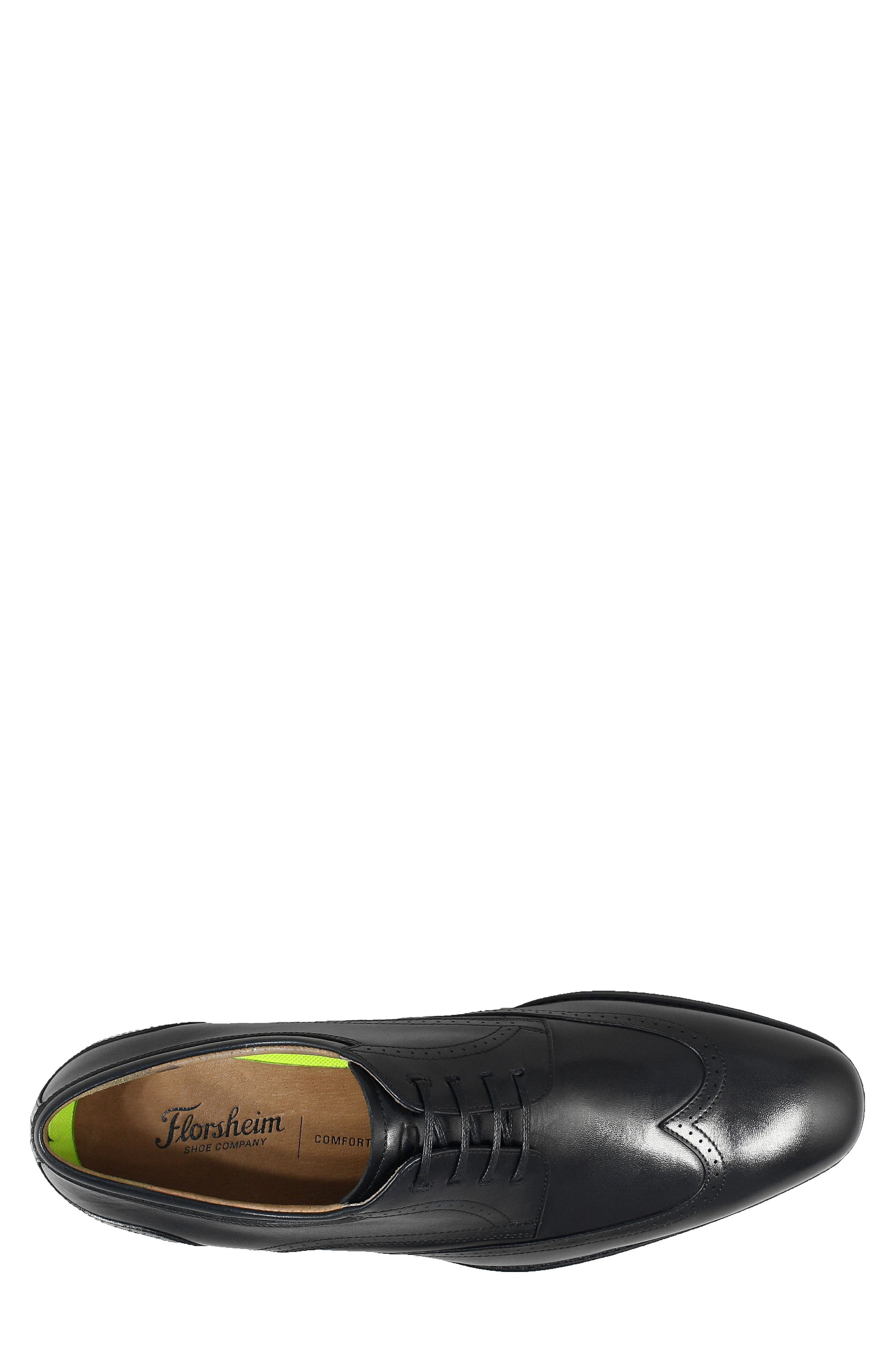 FLORSHEIM, Cardinelli Wingtip, Alternate thumbnail 5, color, BLACK LEATHER