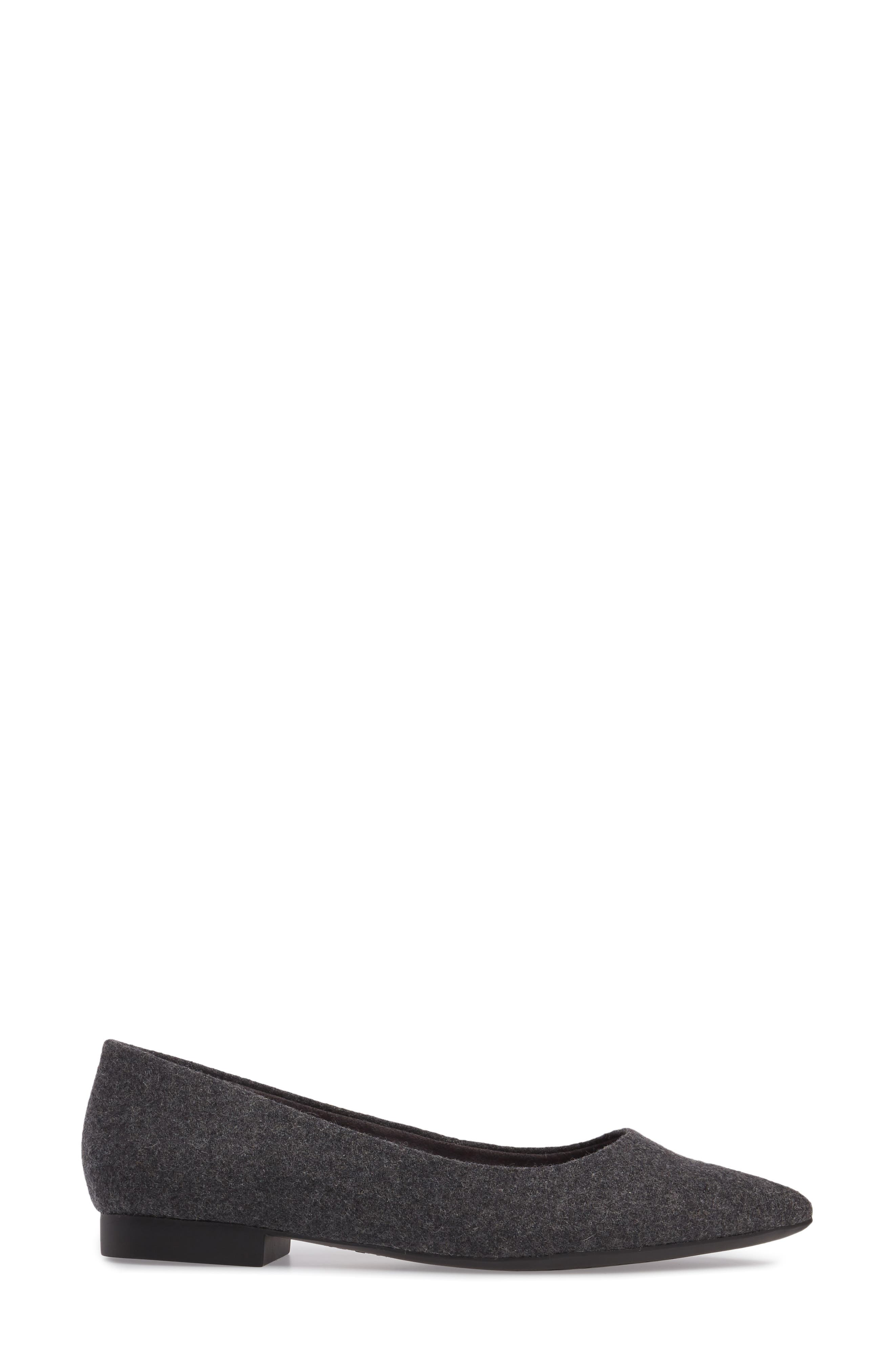 BELLA VITA, 'Vivien' Pointy Toe Flat, Alternate thumbnail 3, color, GREY FLANNEL FABRIC