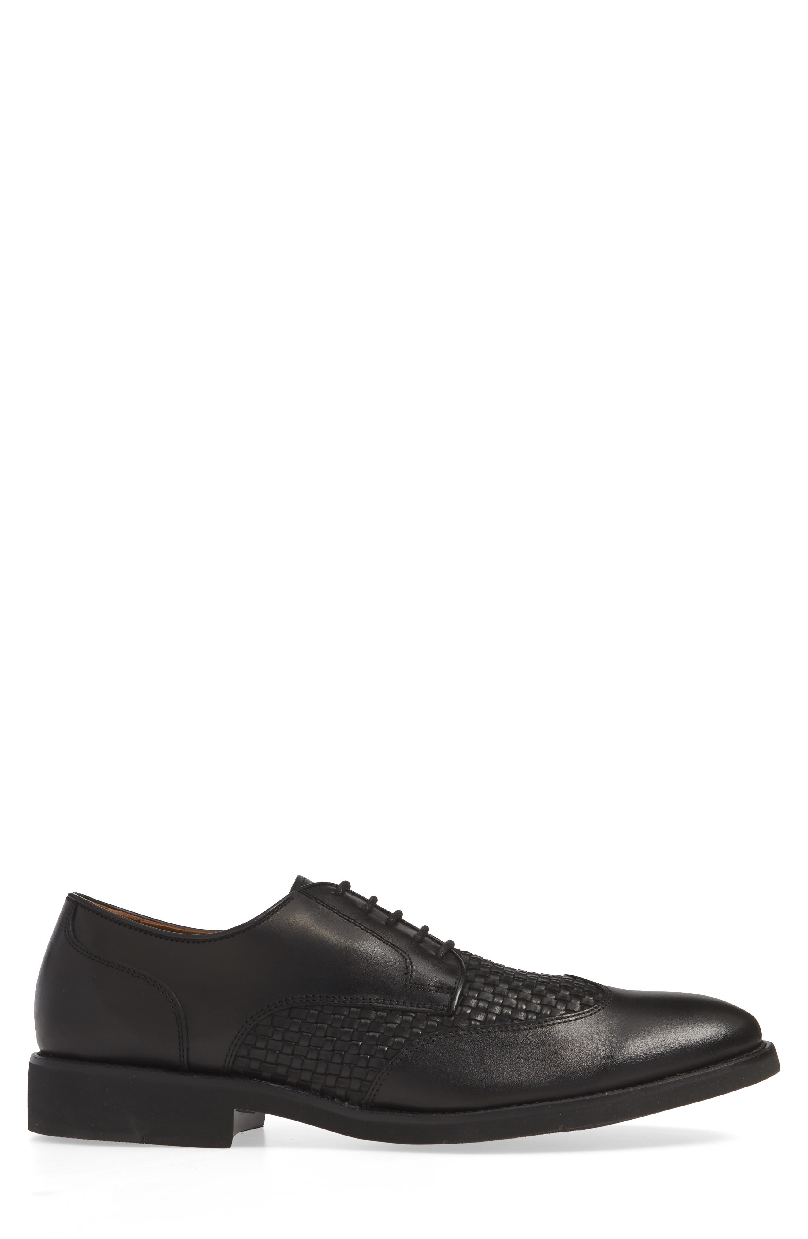 JOHNSTON & MURPHY, Carlson Woven Wingtip Derby, Alternate thumbnail 3, color, BLACK LEATHER