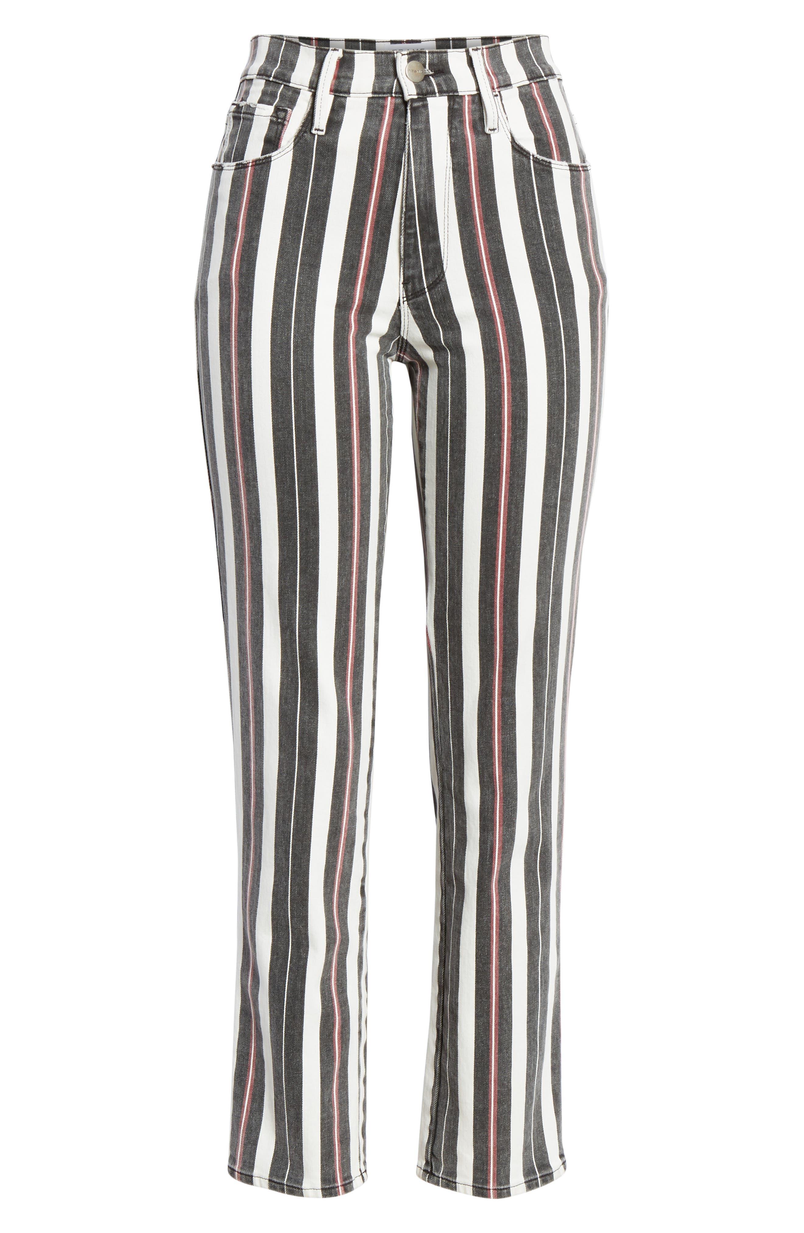 FRAME, Le Sylvie Band Stripe Straight Leg Jeans, Alternate thumbnail 6, color, BAND STRIPE