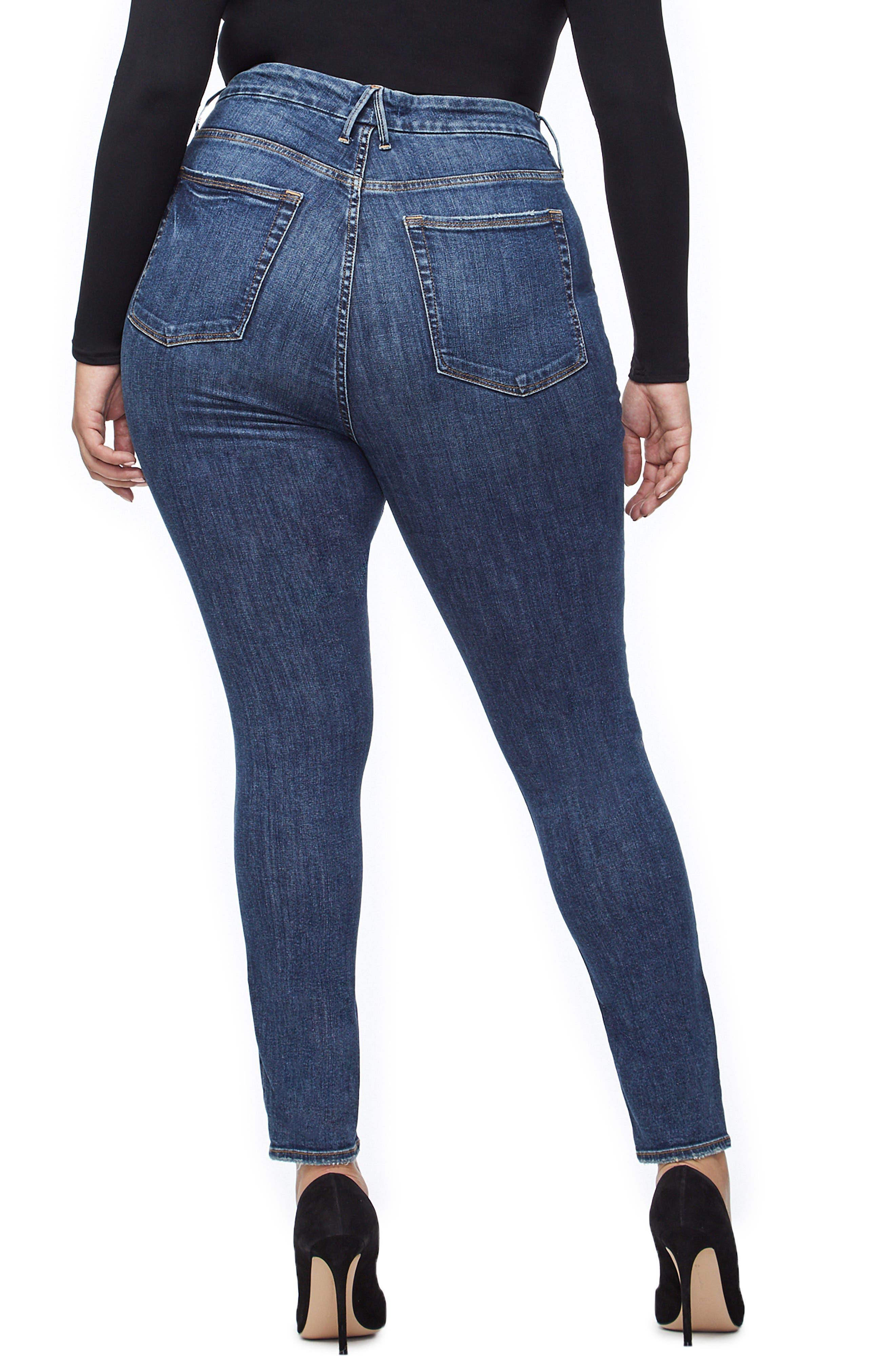 GOOD AMERICAN, Good Legs Ripped High Waist Skinny Jeans, Alternate thumbnail 6, color, BLUE208