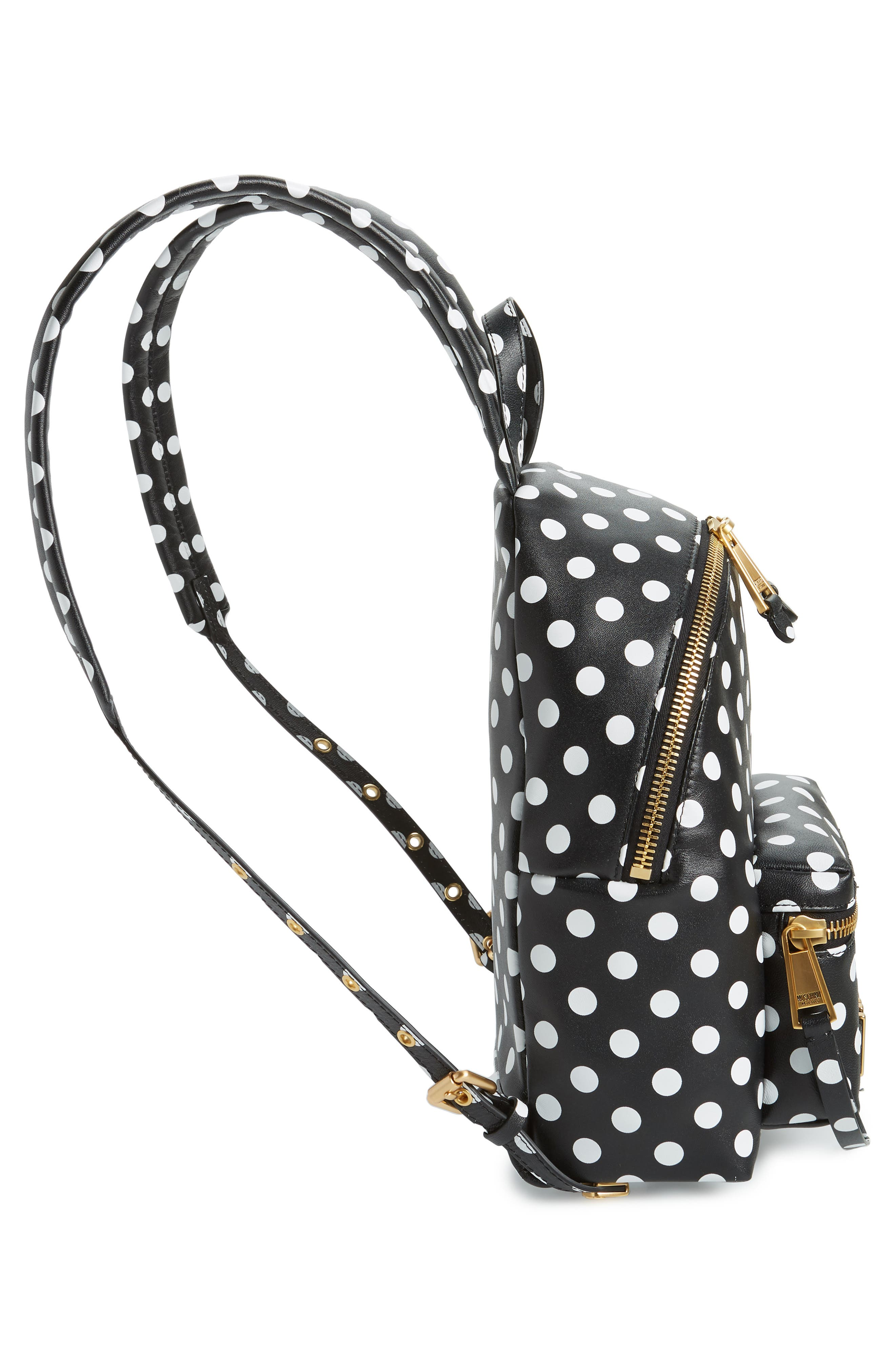 MOSCHINO, Logo Polka Dot Backpack, Alternate thumbnail 5, color, BLACK/ WHITE
