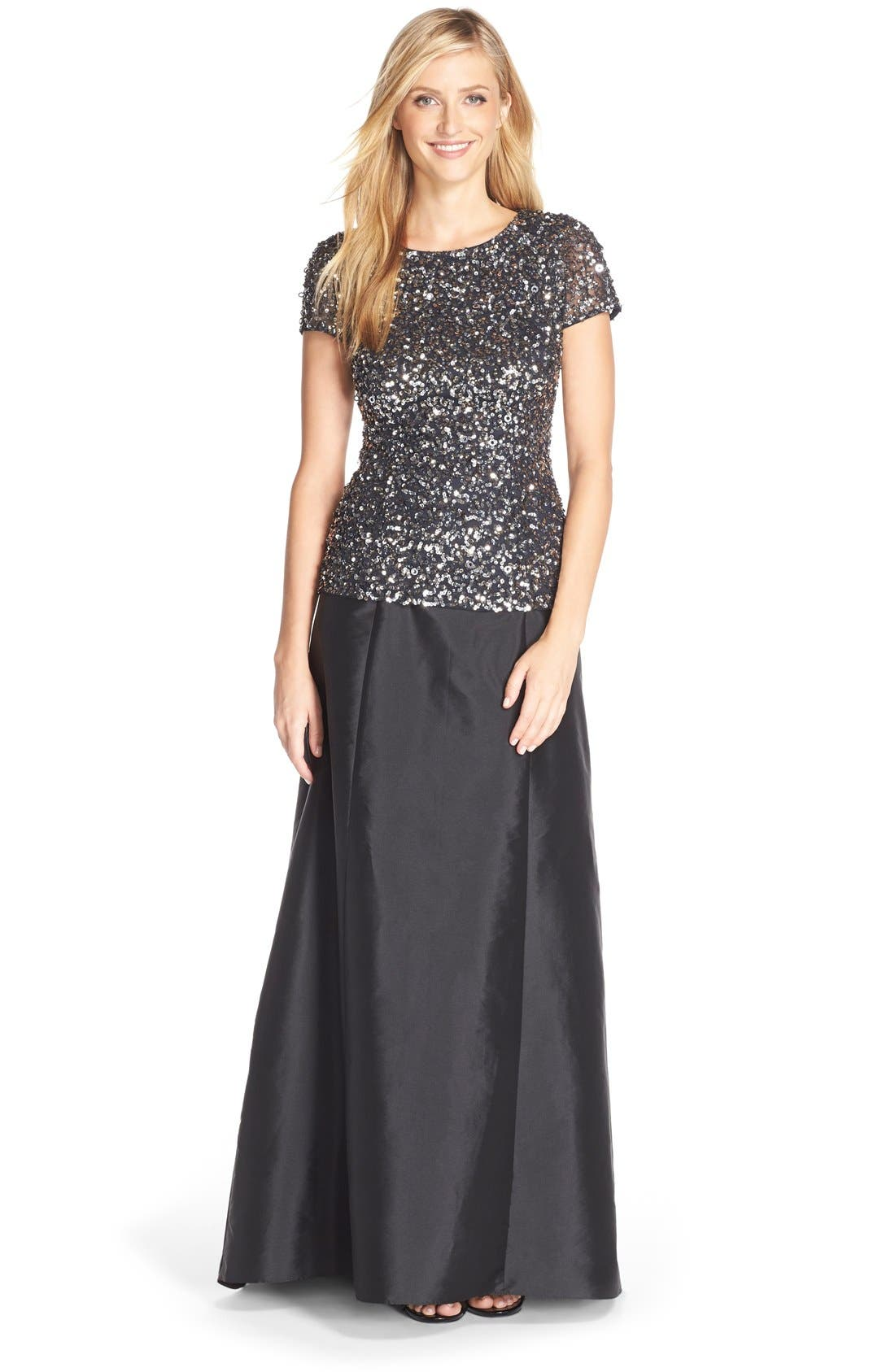ADRIANNA PAPELL, Sequin Mesh Top, Alternate thumbnail 2, color, 020