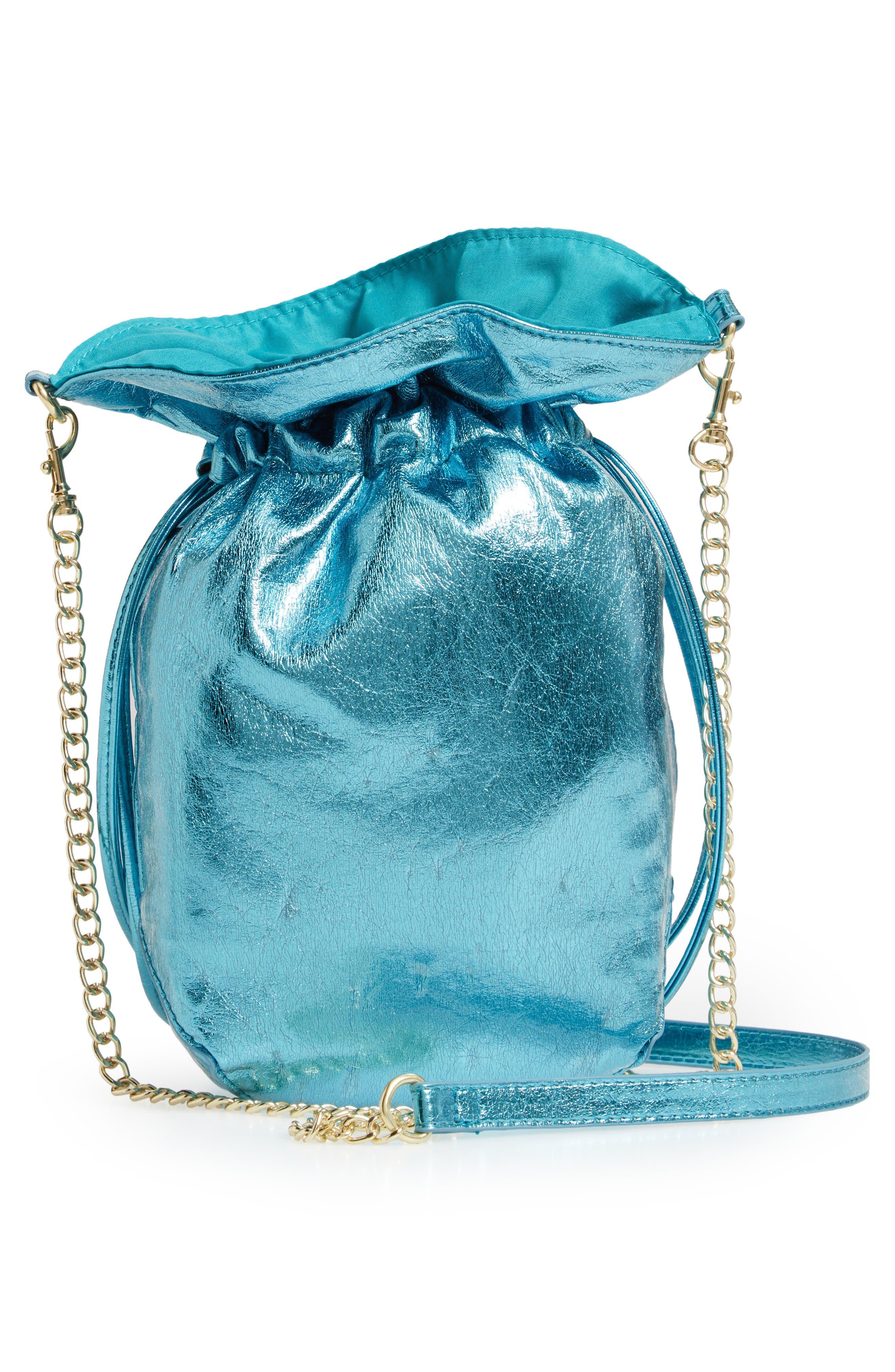 LEITH, Mini Slouch Drawstring Bag, Alternate thumbnail 4, color, BLUE METALLIC