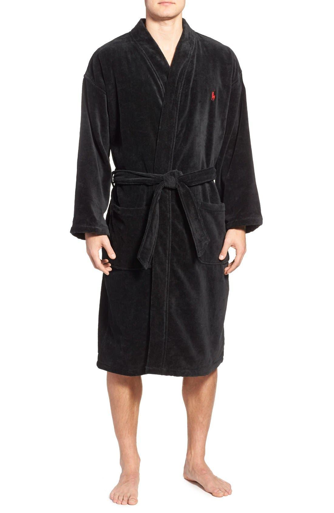 POLO RALPH LAUREN, Cotton Fleece Robe, Main thumbnail 1, color, POLO BLACK