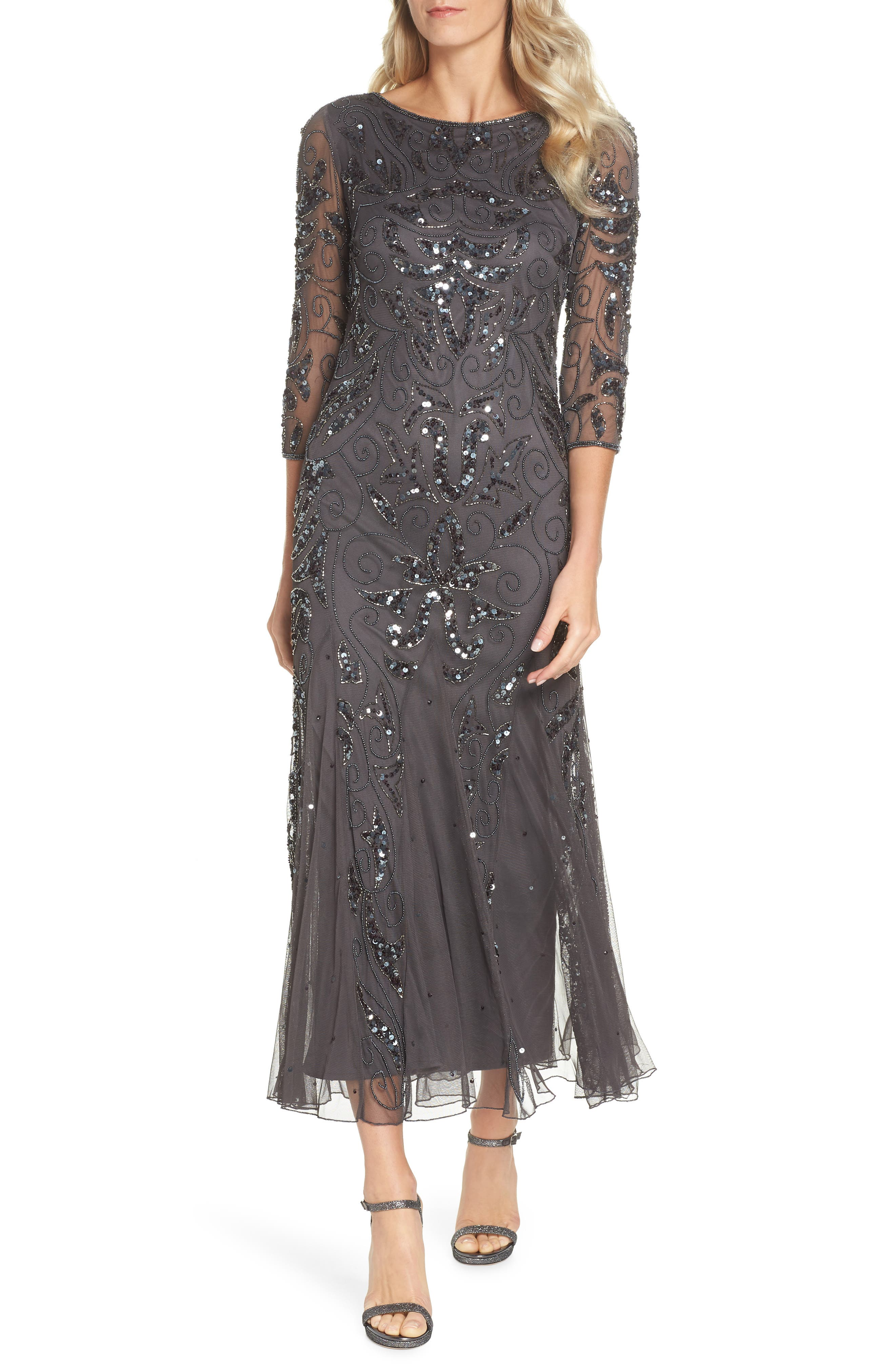 PISARRO NIGHTS, Embellished Mesh Gown, Main thumbnail 1, color, NEW ASH