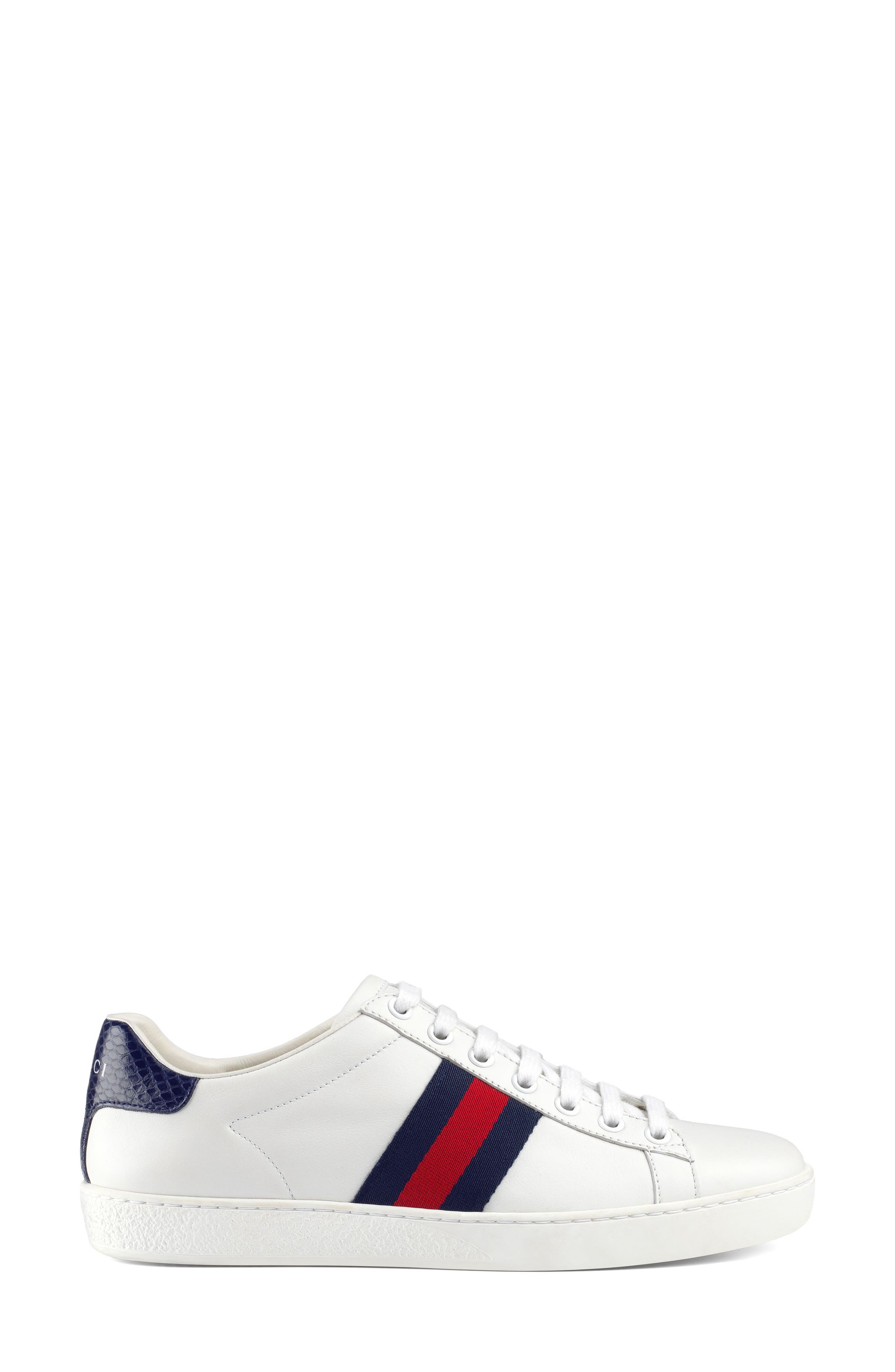 GUCCI, 'New Ace' Sneaker, Alternate thumbnail 2, color, WHITE/ BLUE