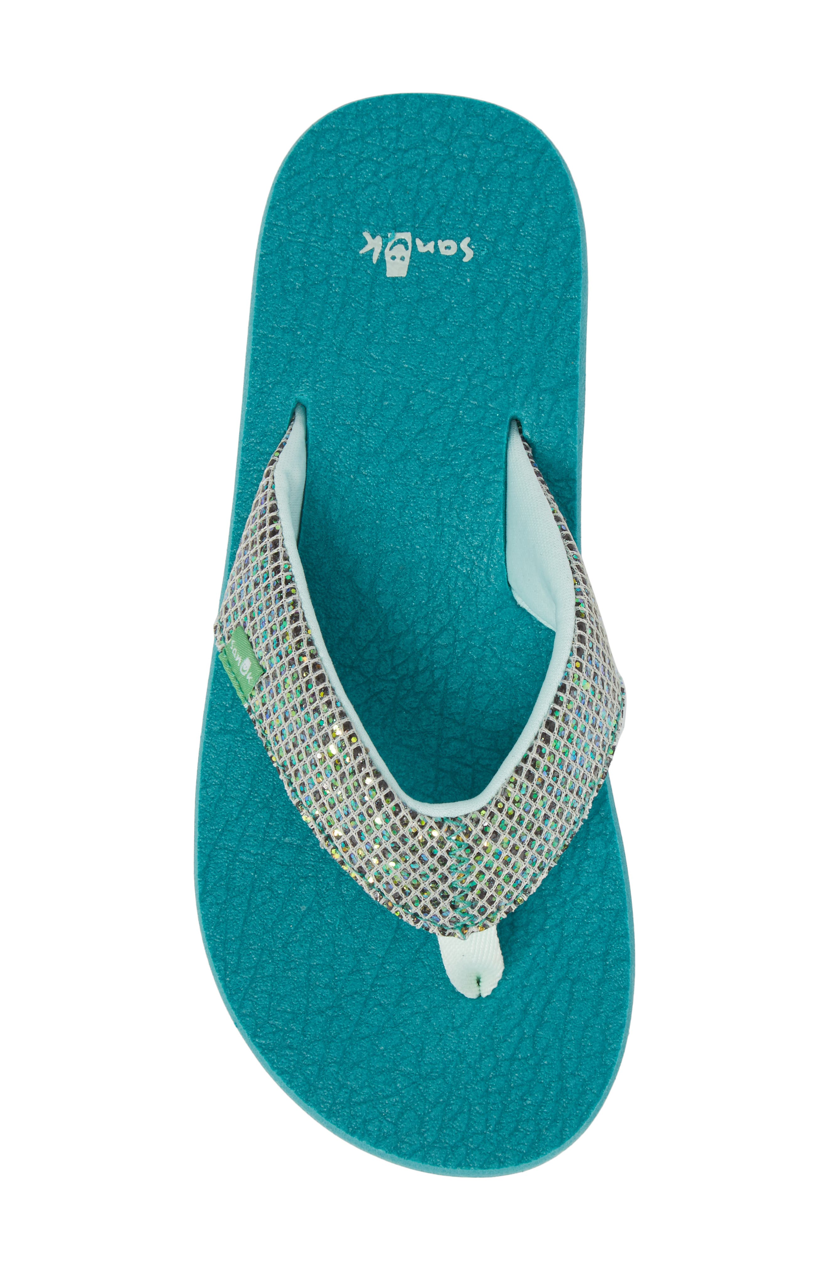SANUK, 'Yoga' Glitter Sandal, Alternate thumbnail 5, color, SEA GREEN