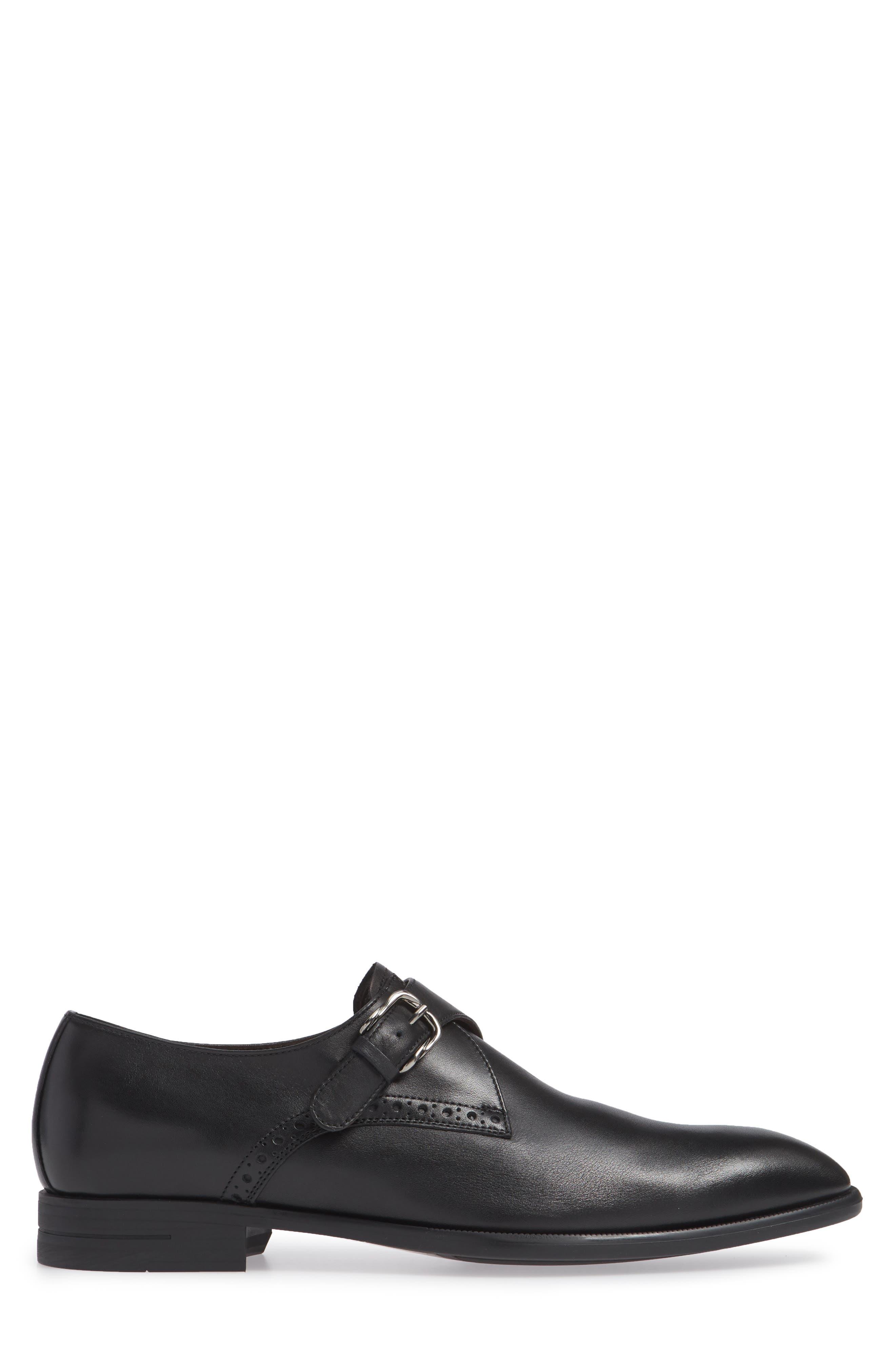 ERMENEGILDO ZEGNA, Single Strap Monk Shoe, Alternate thumbnail 3, color, BLACK