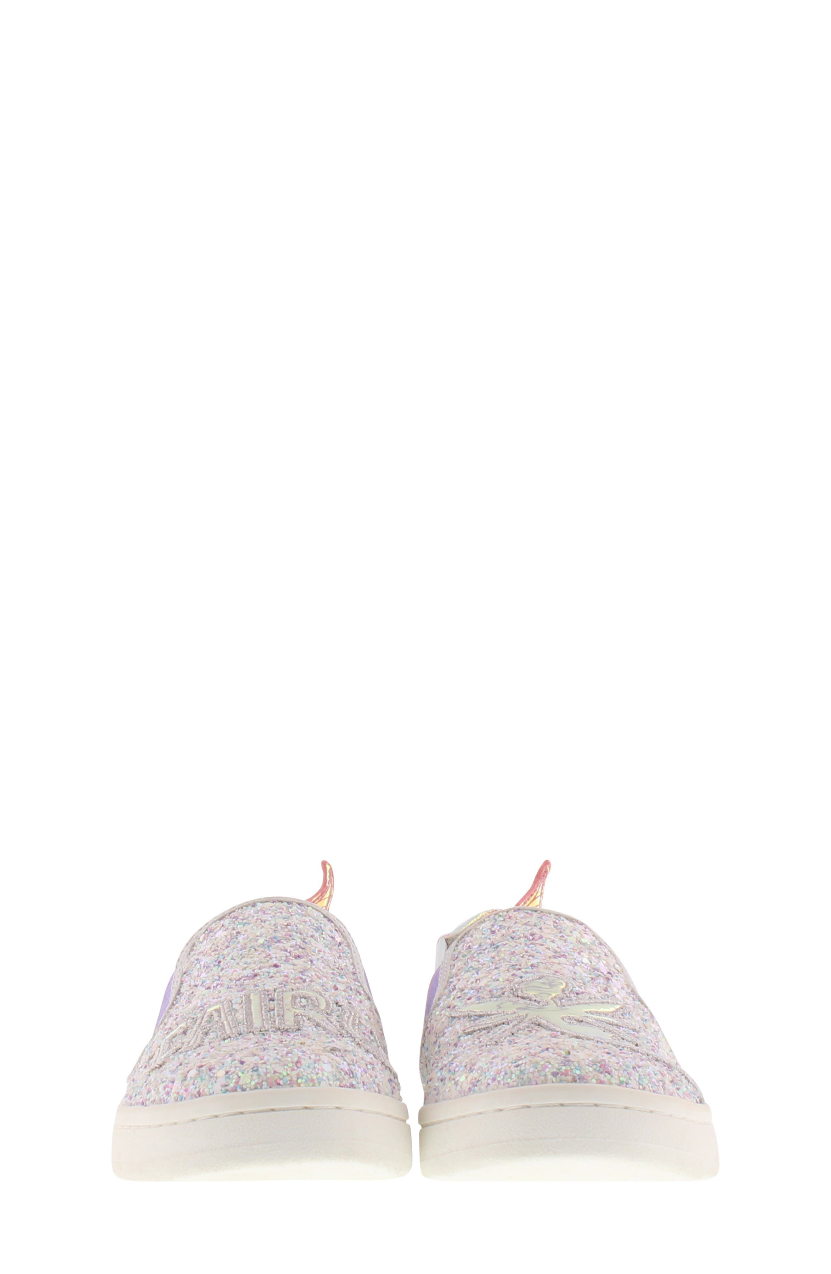 SAM EDELMAN, Blake Lina Fairy Glitter Slip-On Sneaker, Alternate thumbnail 4, color, PINK/ PURPLE