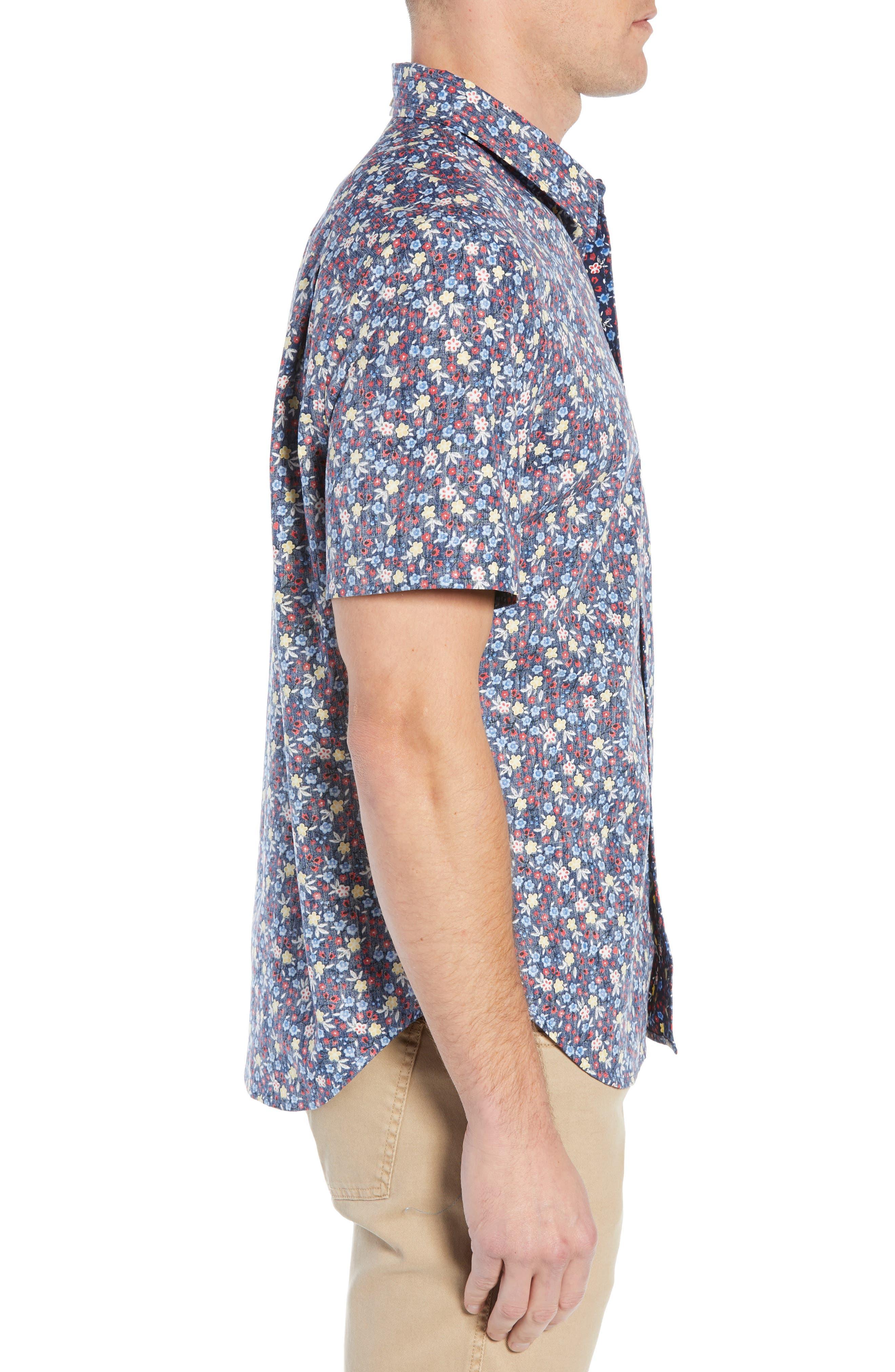 REYN SPOONER, Retro Tailored Fit Sport Shirt, Alternate thumbnail 4, color, MEDIEVAL BLUE