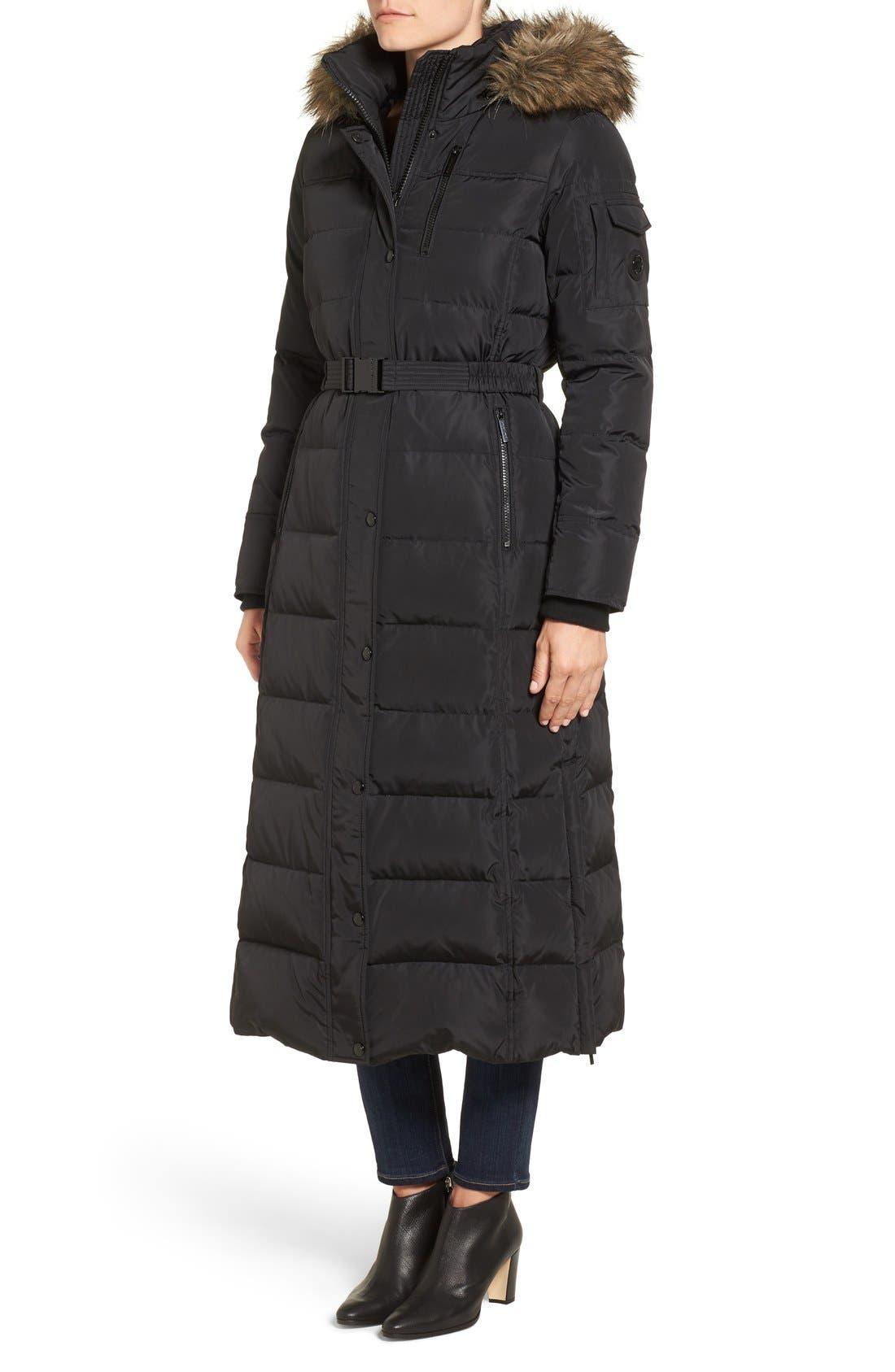 KORS MICHAEL KORS, Faux Fur Trim Belted Down & Feather Fill Maxi Coat, Alternate thumbnail 3, color, 001