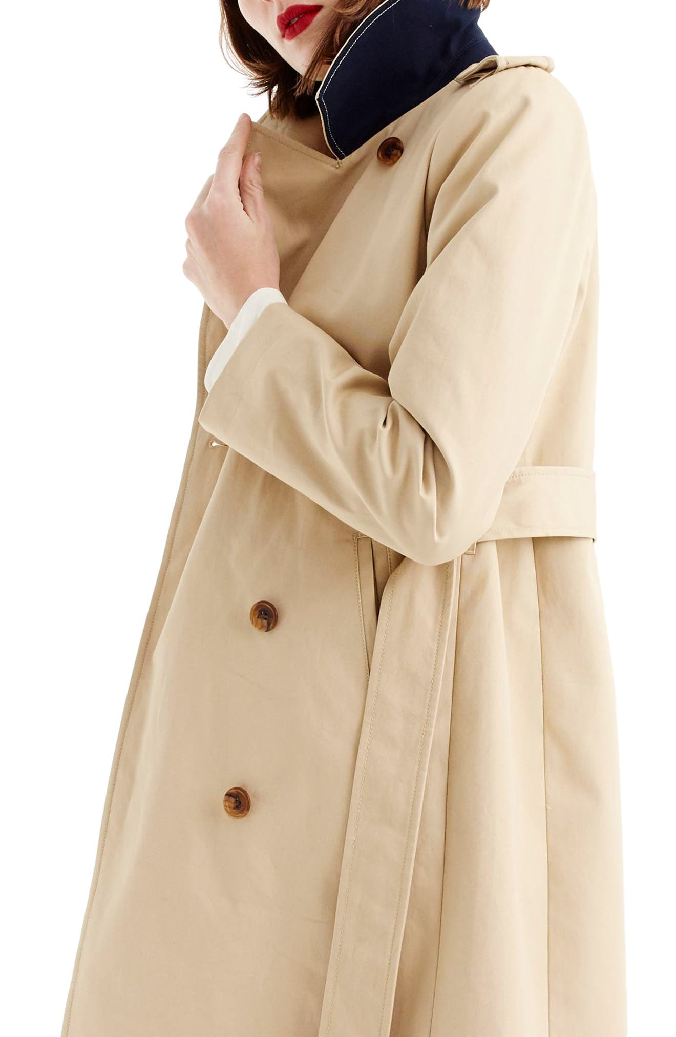 J.CREW, 2011 Icon Trench Coat, Alternate thumbnail 3, color, VINTAGE KHAKI