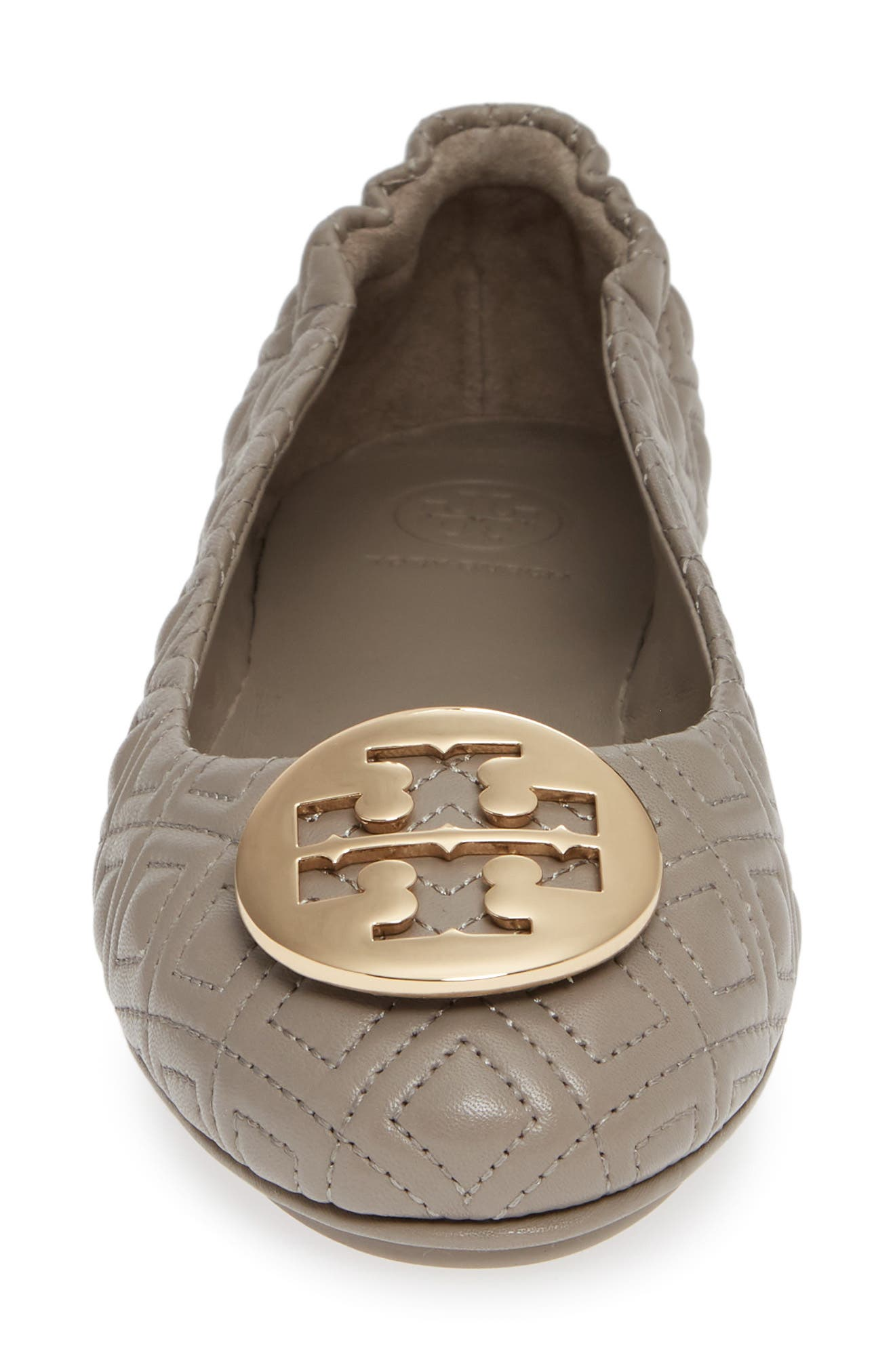 TORY BURCH, Quilted Minnie Flat, Alternate thumbnail 4, color, DUST STORM/ GOLD