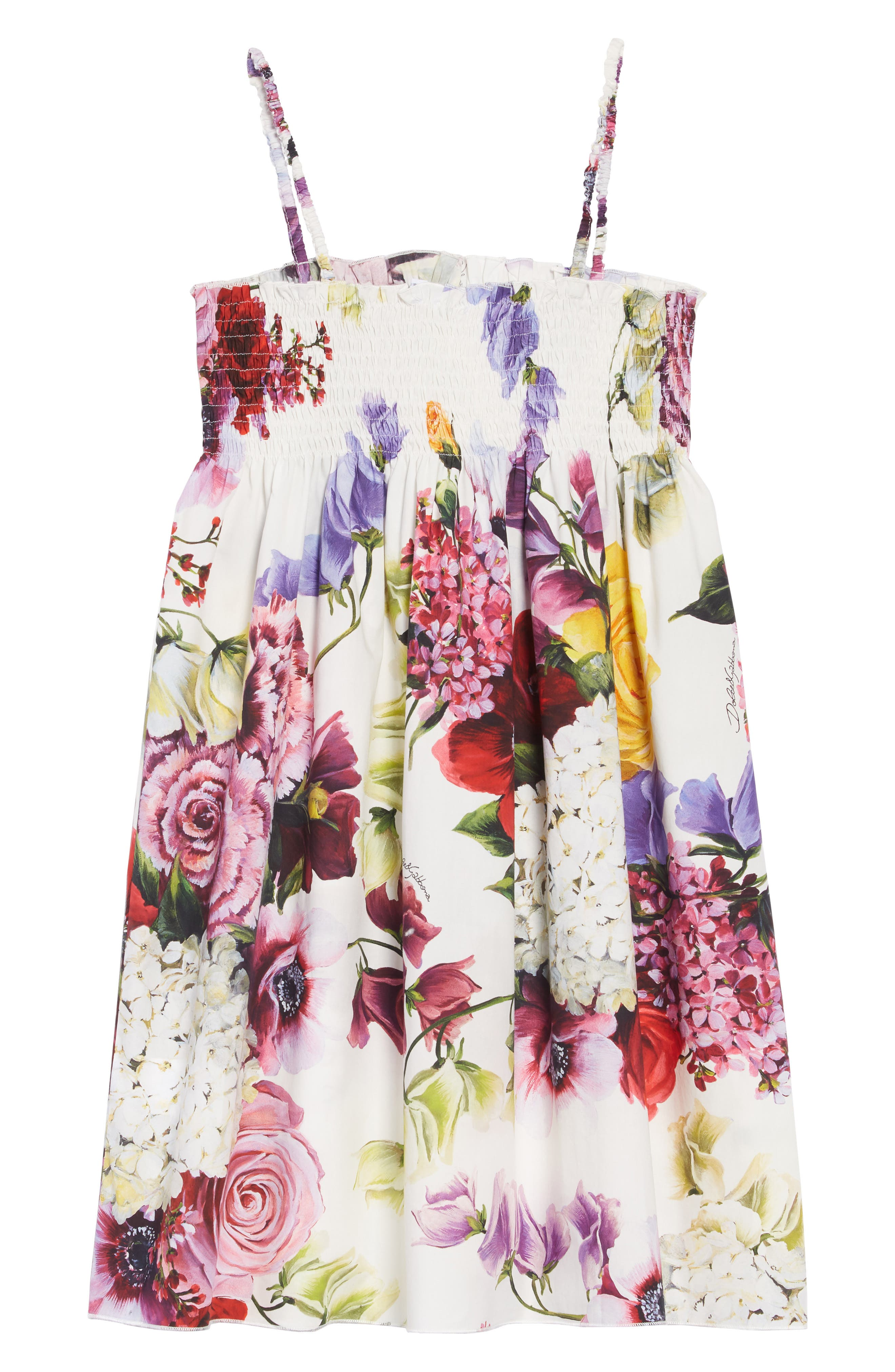 DOLCE&GABBANA, Abito Senza Maniche Dress, Alternate thumbnail 2, color, ORTENSIE/ FIORI F.NAT
