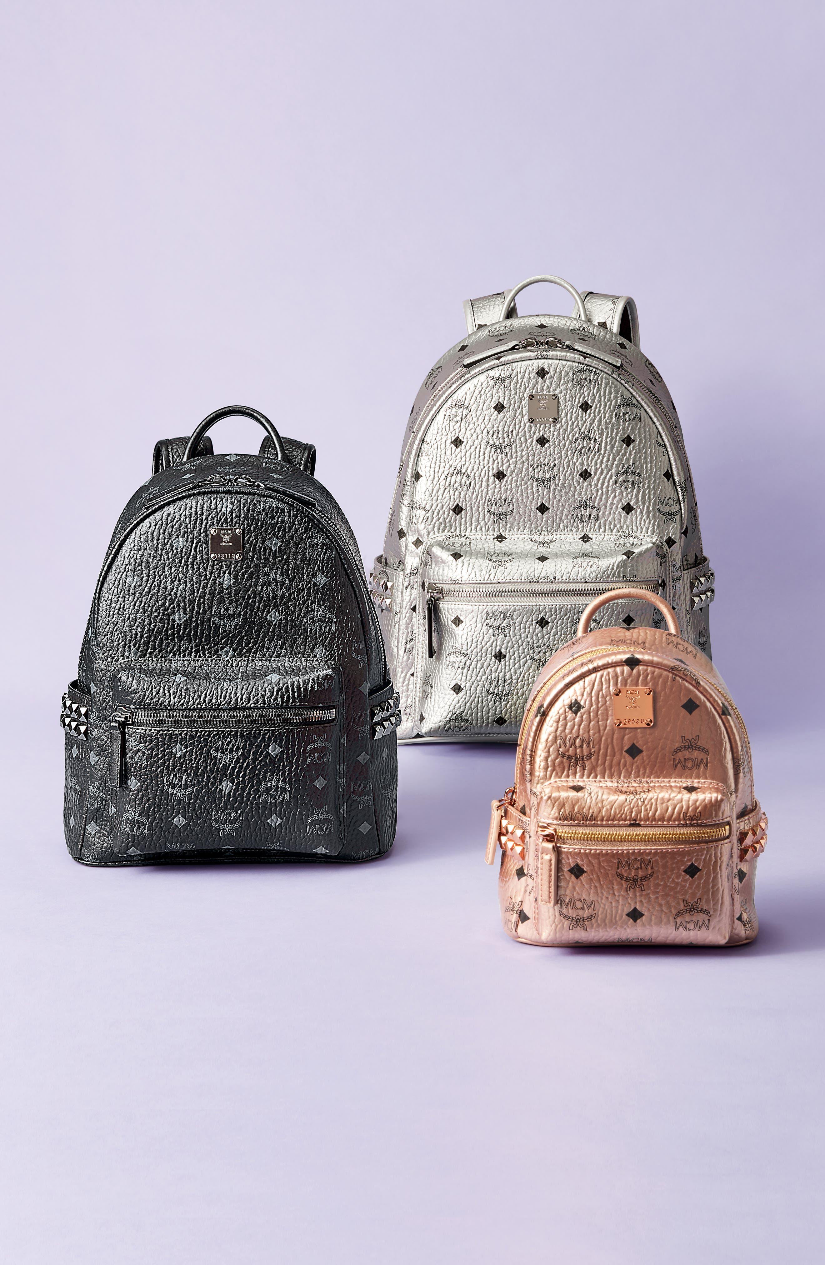 MCM, Small Stark Side Stud Backpack, Alternate thumbnail 8, color, PHANTOM GREY