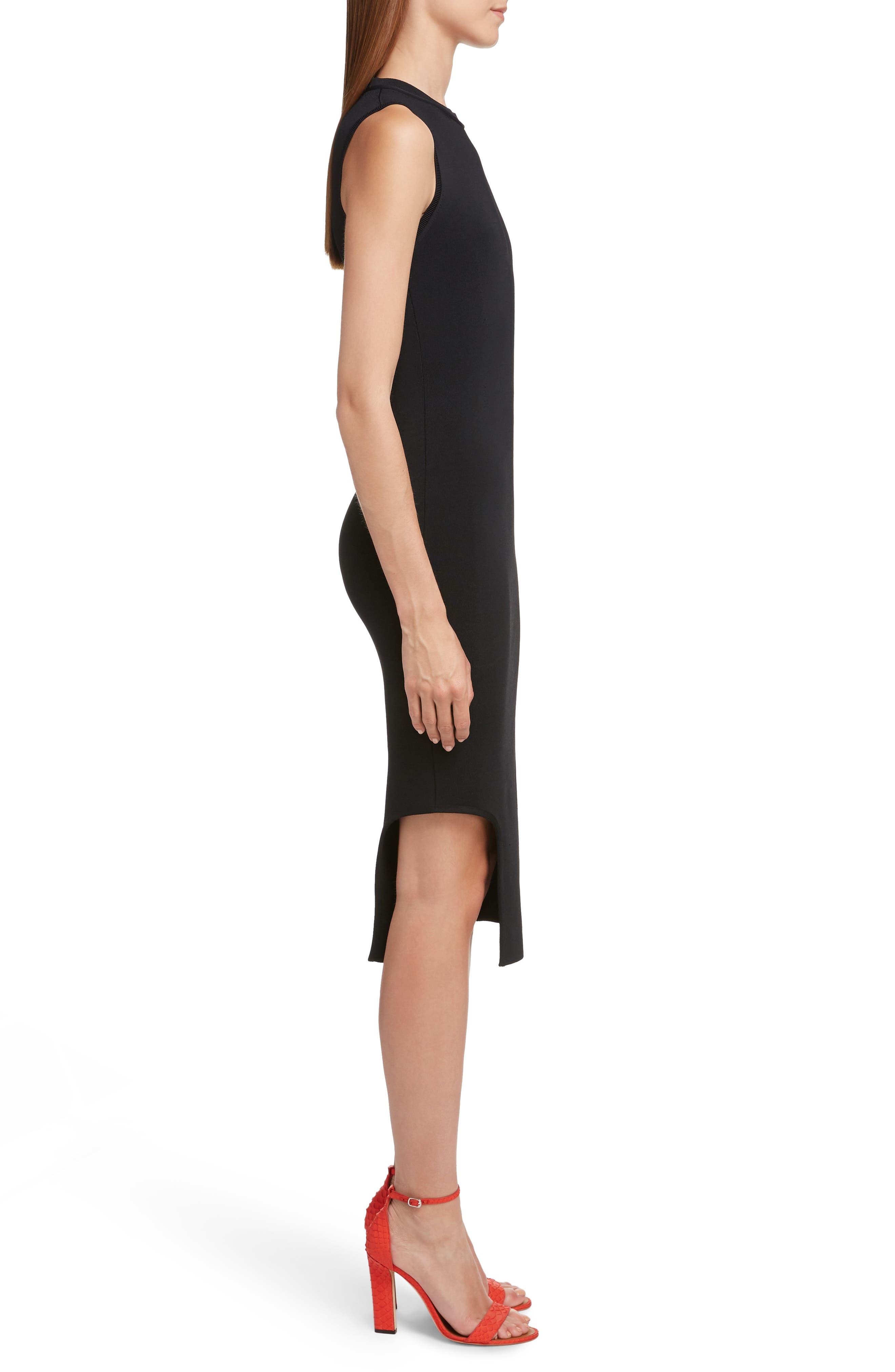 VICTORIA BECKHAM, Cutout Knit Dress, Alternate thumbnail 3, color, BLACK