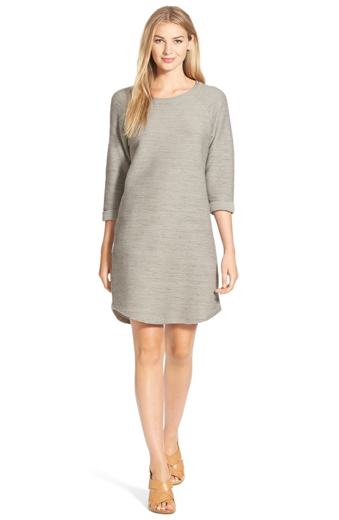 CASLON<SUP>®</SUP> Roll Sleeve Textured Knit Shift Dress, Main, color, 025