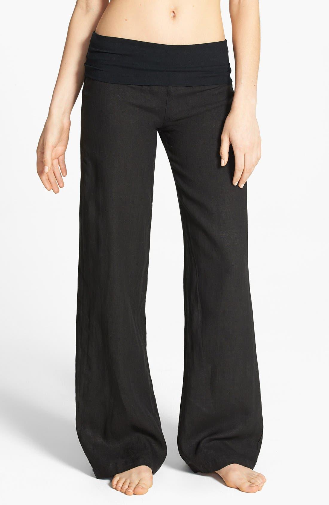 SOLOW, Wide Leg Linen Pants, Main thumbnail 1, color, 001