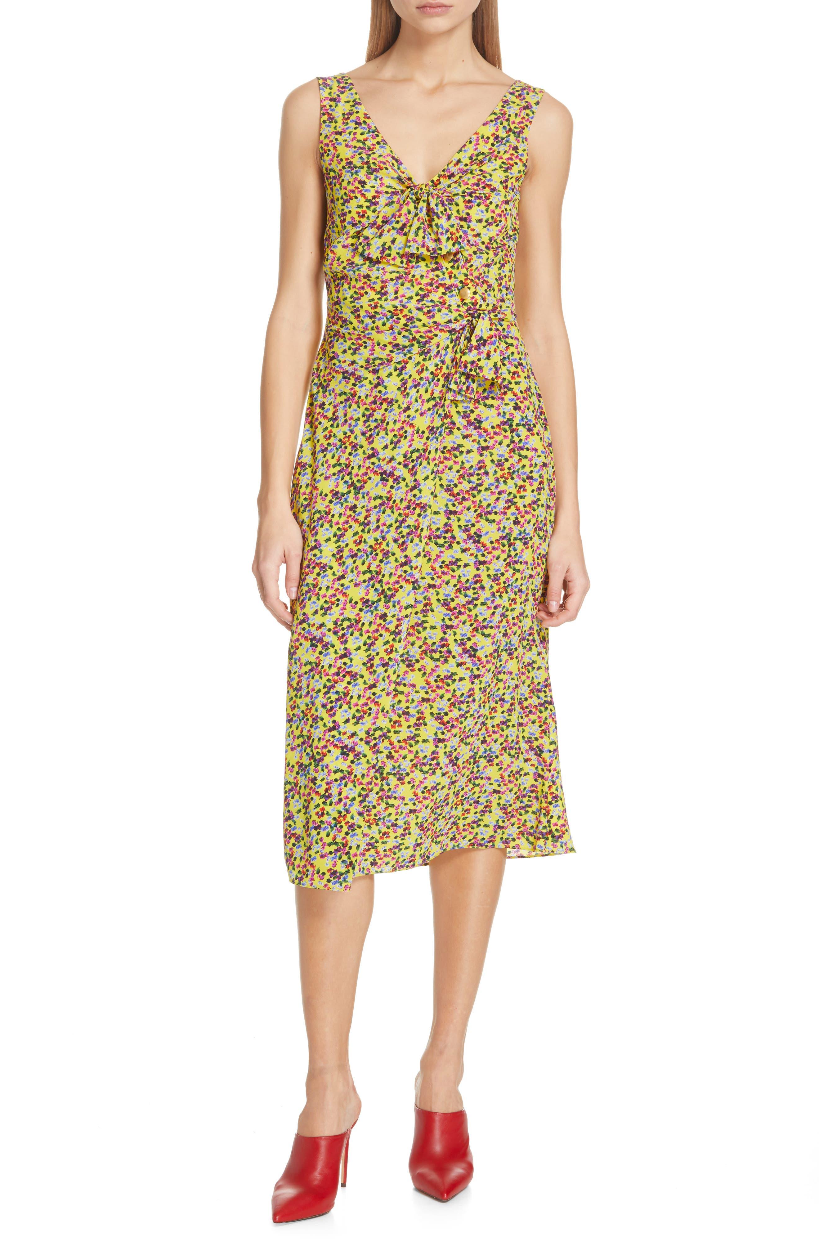 SALONI, Penelope Floral Print Silk Midi Dress, Main thumbnail 1, color, YELLOW GARDENIA