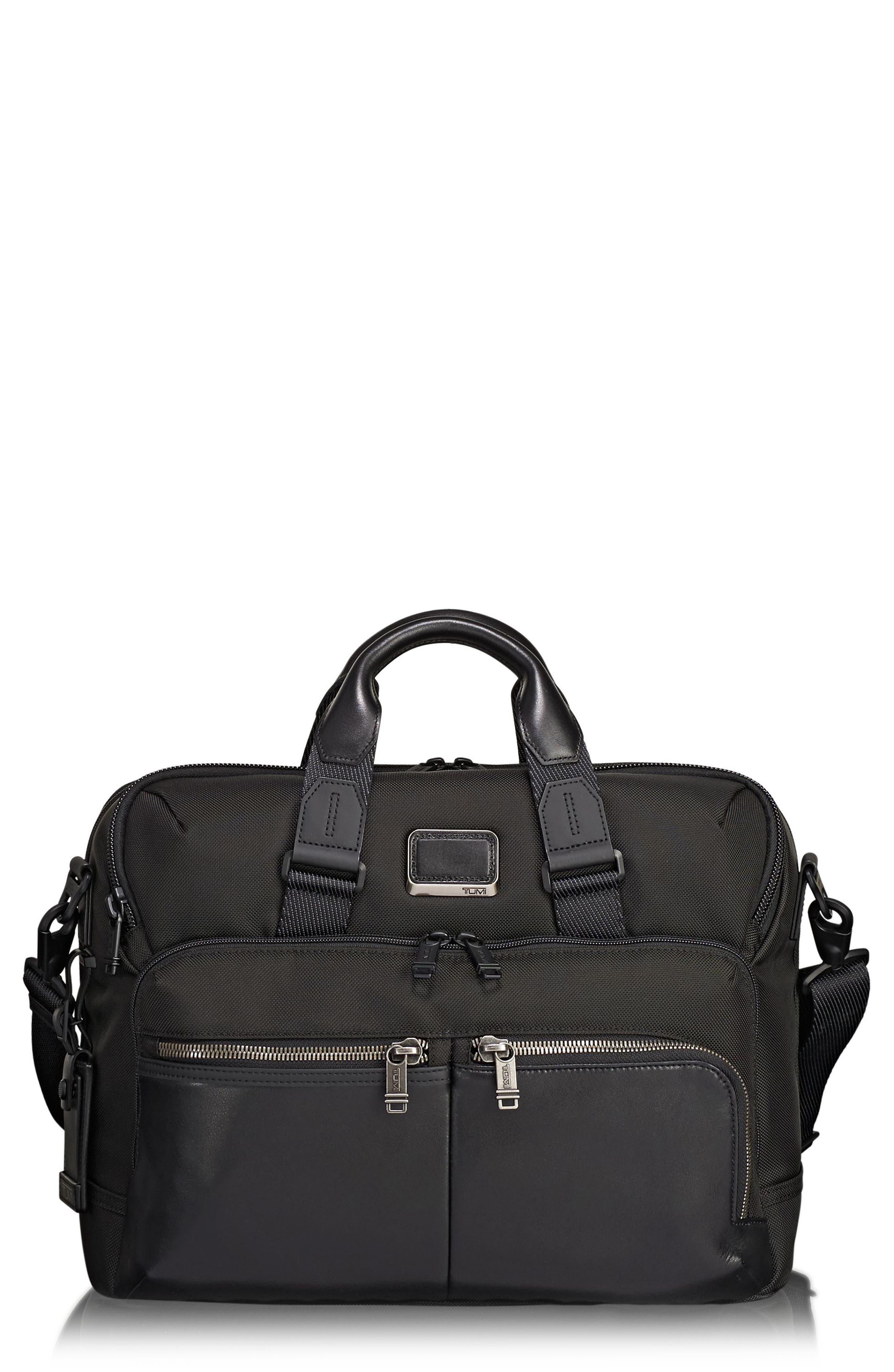 TUMI Alpha Bravo - Patterson Briefcase, Main, color, BLACK