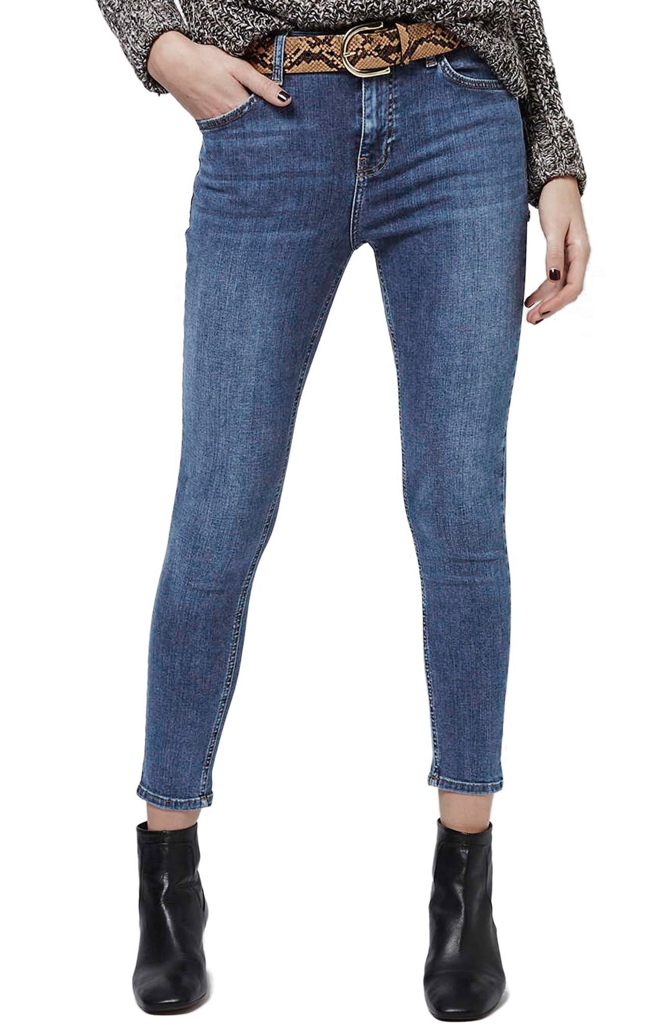 TOPSHOP, 'Jamie' High Rise Ankle Skinny Jeans, Alternate thumbnail 4, color, MID DENIM