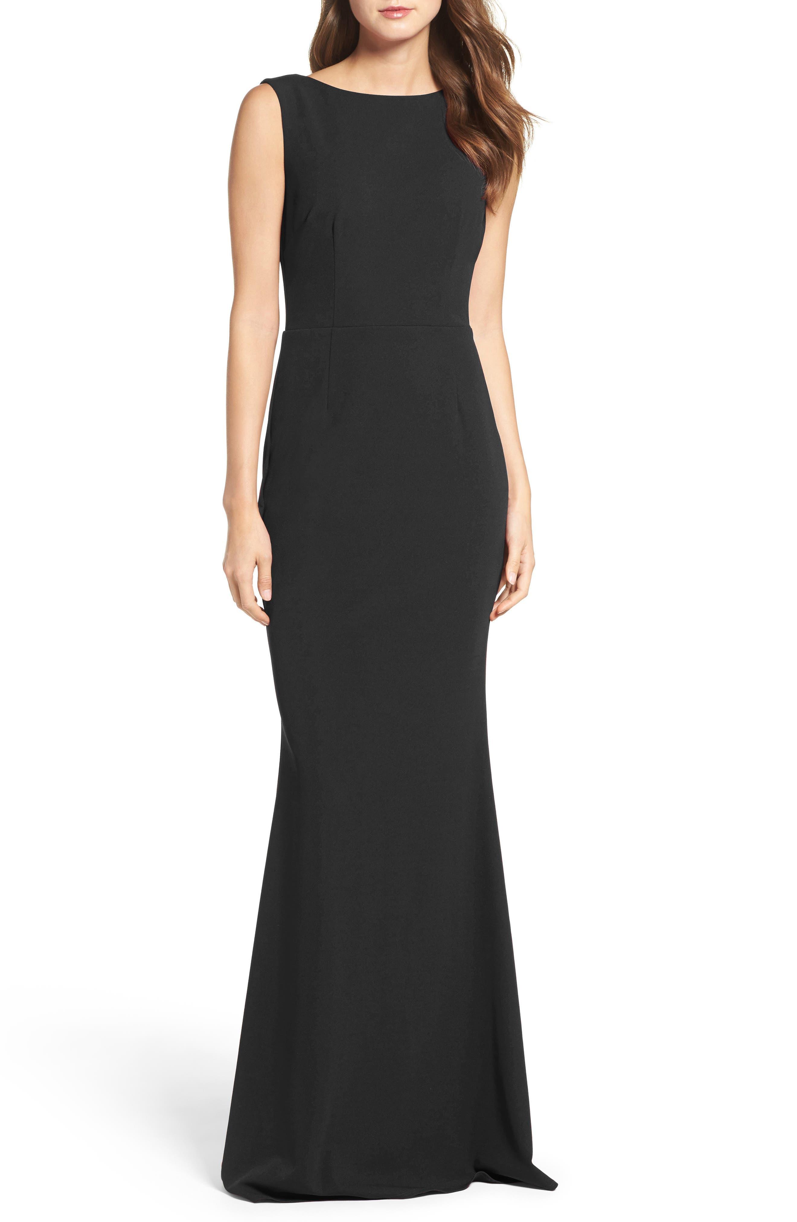 KATIE MAY Vionnet Drape Back Crepe Gown, Main, color, BLACK