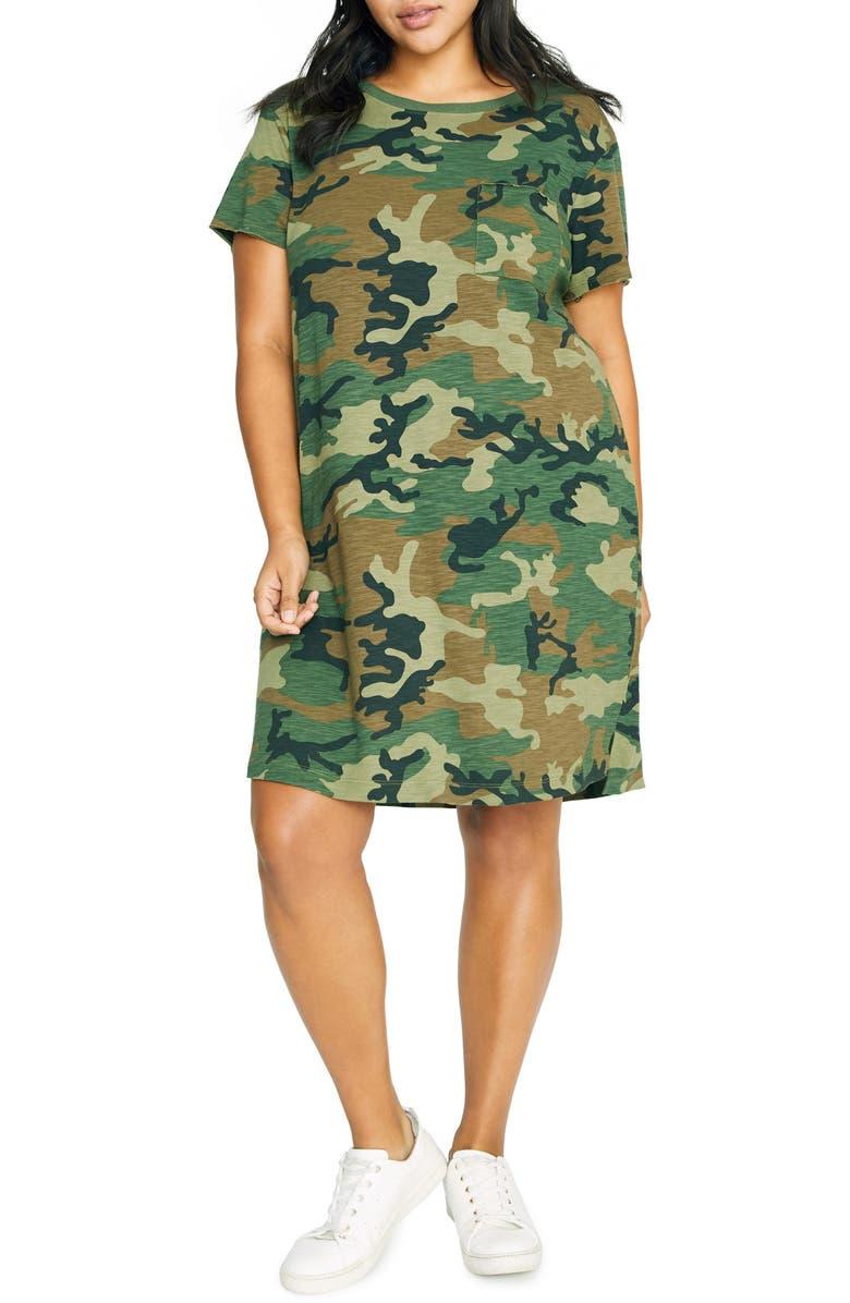 SANCTUARY CAMO ONE-POCKET T-SHIRT DRESS