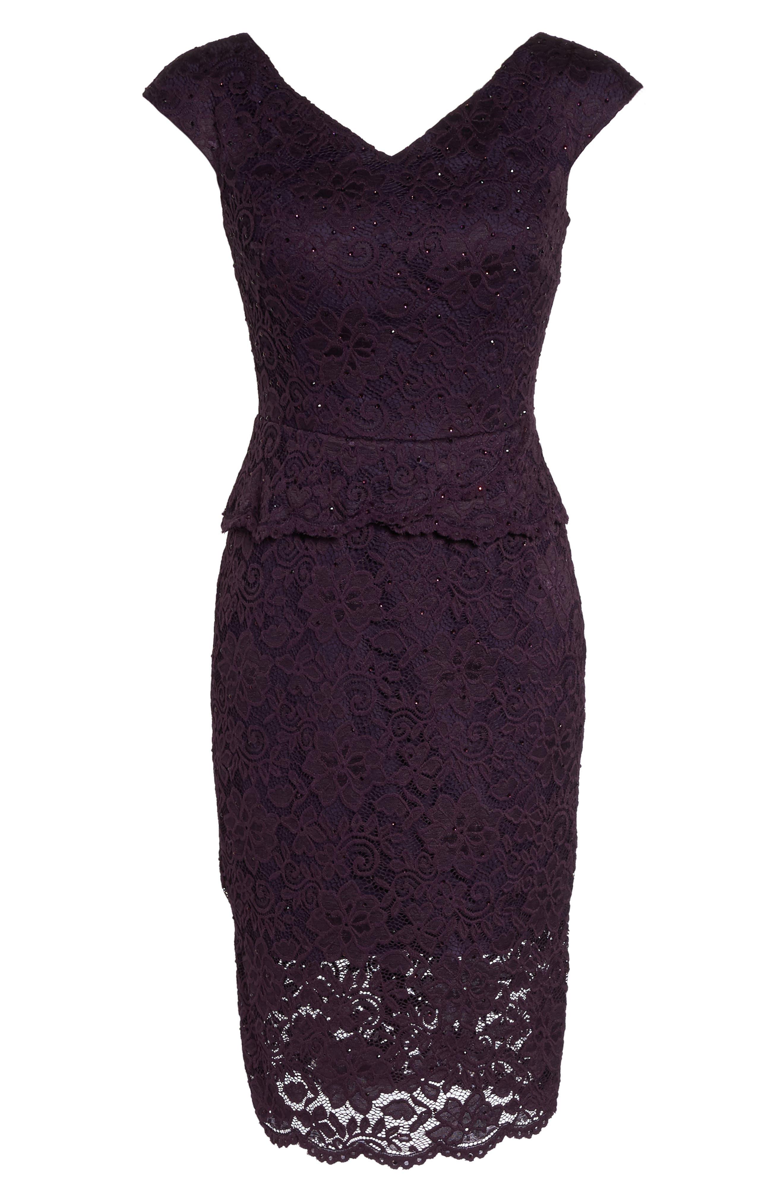 LA FEMME, Embellished Lace Sheath Dress, Alternate thumbnail 6, color, 501
