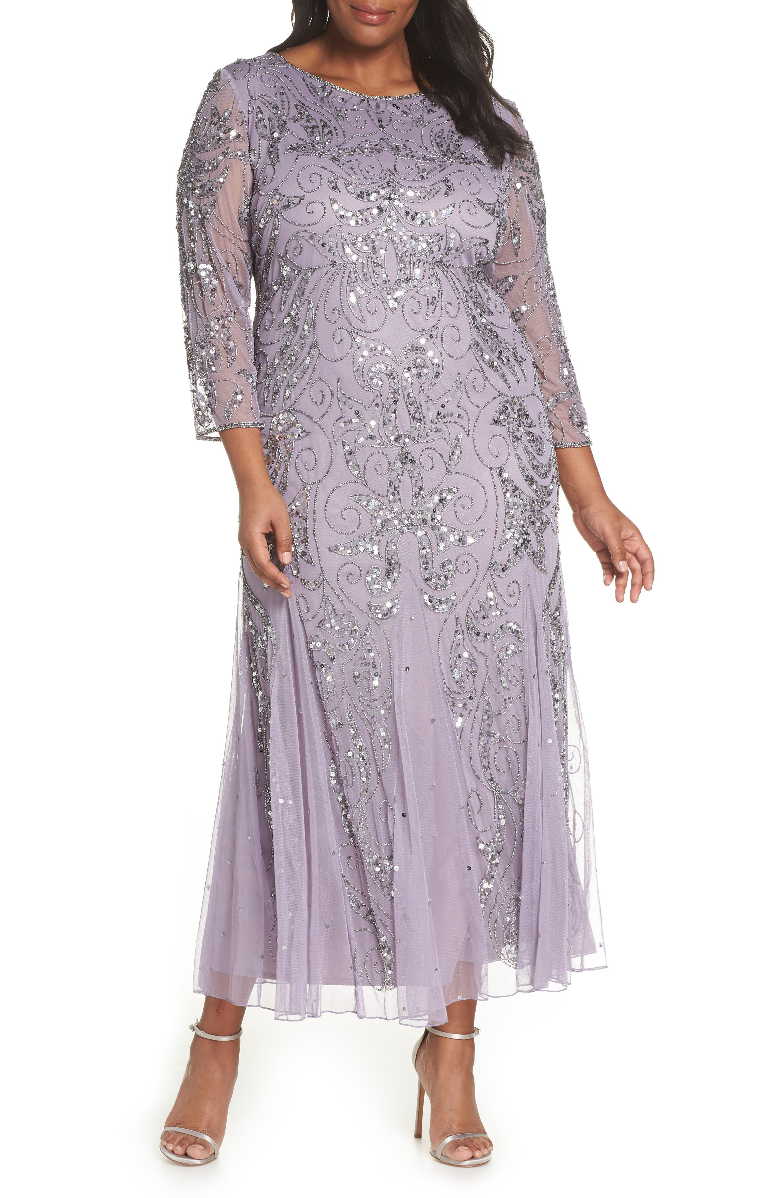 PISARRO NIGHTS Embellished Three Quarter Sleeve Gown, Main, color, NEW LAVENDER
